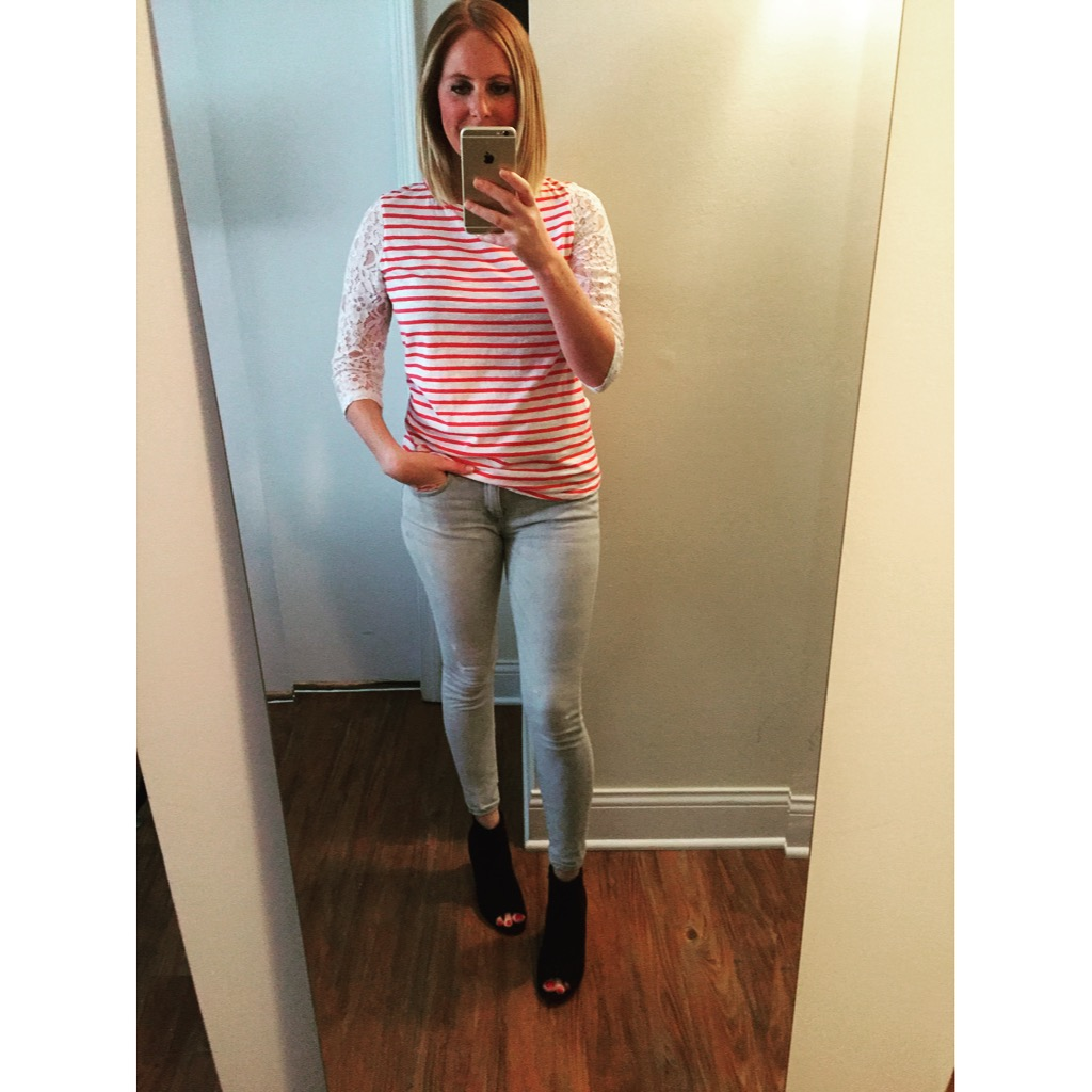 Top: Nordstrom, Jeans:Ankle Legging, Mia-Mid Rise, Shoes: Old Navy, Sueded Open-Toe Ankle Boots