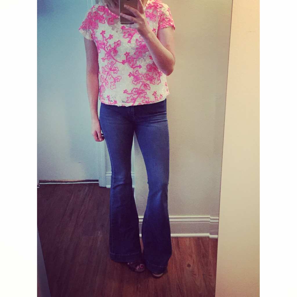 Top: Anthropologie, Jeans:Urban Outfitters, Dittos, Flare-High Rise, Sandals: Clarks