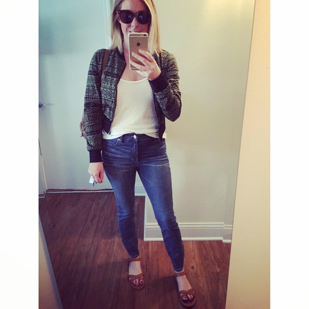 Jacket: Boomerang BTQ,  Green Tribal Jacket , Jeans:Madewell, High-Riser Skinny , Sandals: Madewell, Sunglasses: Nordstrom, A.J. Morgan, 'Pristine' 55mm Oversized Sunglasses , Backpack: Fossil