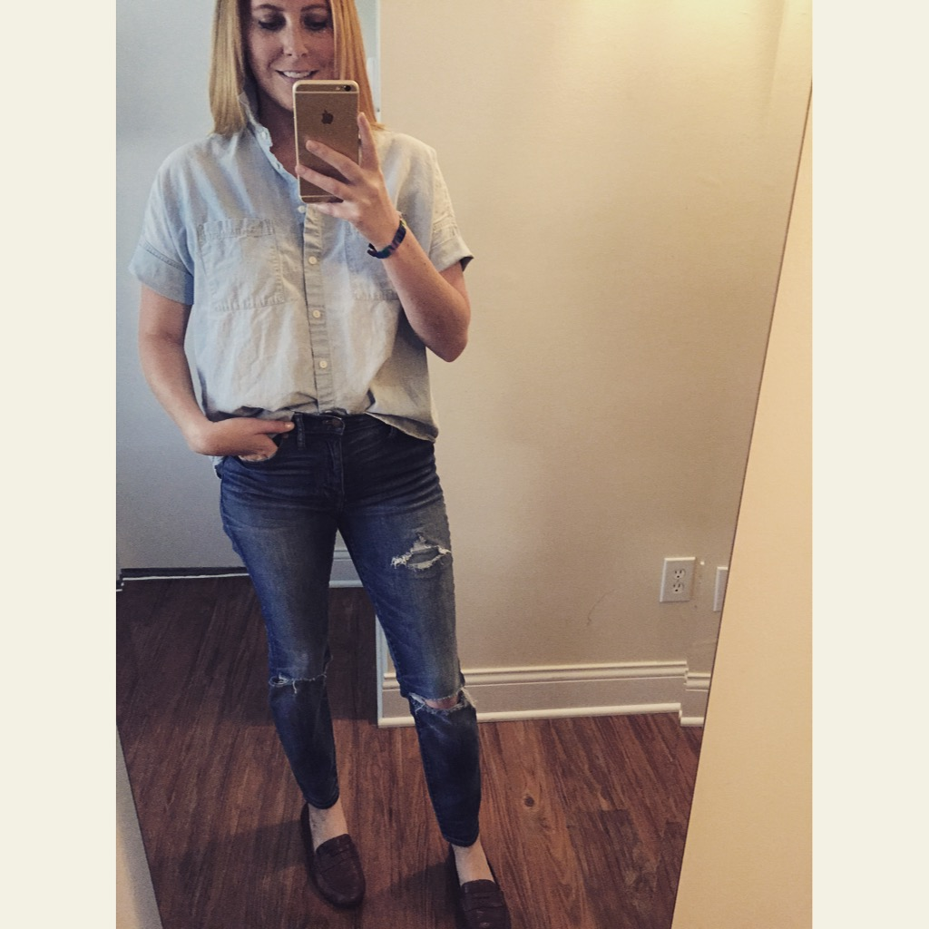 Top: Madewell,  Chambray Courier Shirt,  Jeans:Madewell, High Riser Skinny , Shoes: Macy's,Born, Dinah