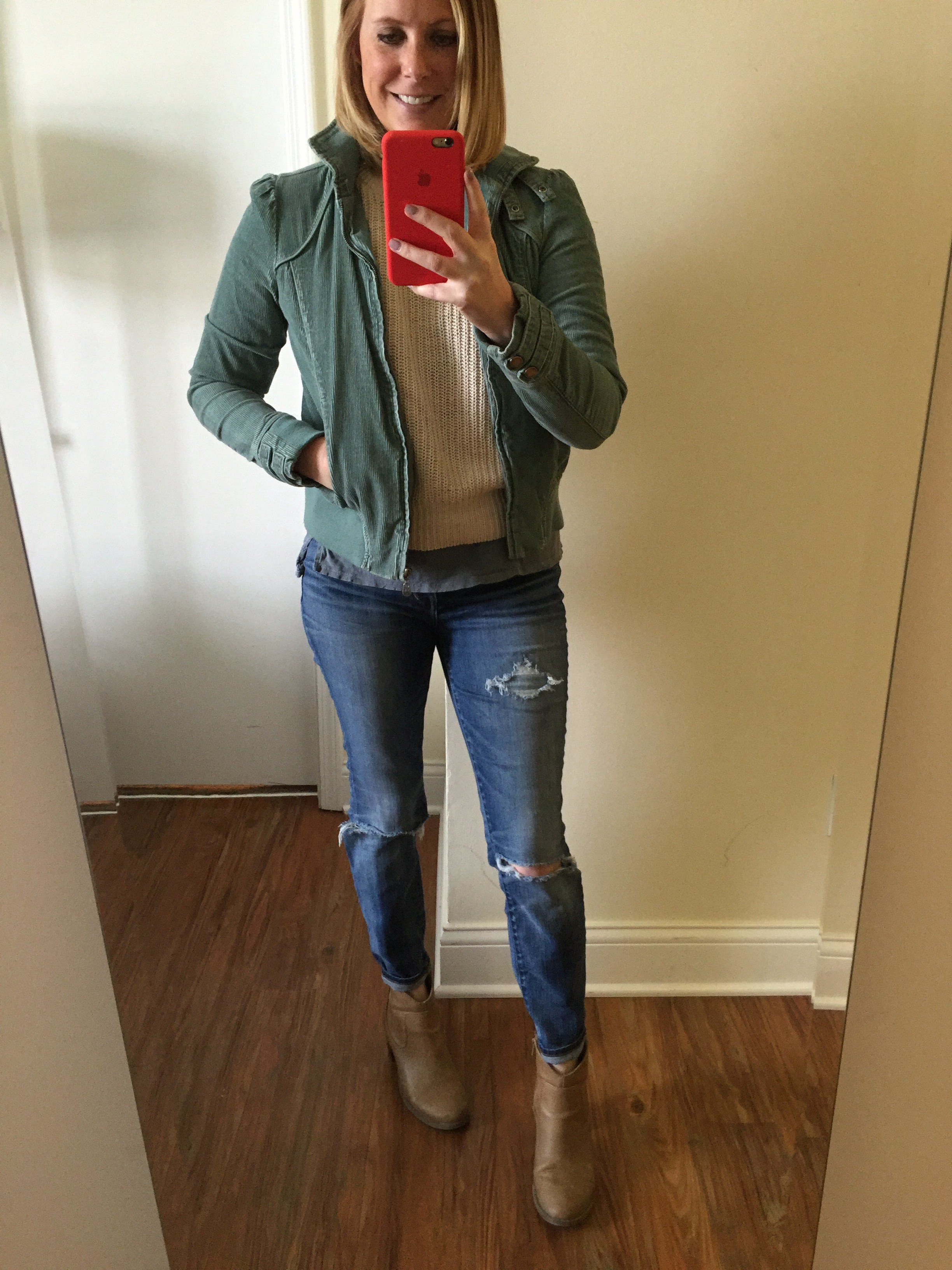Jacket: Target (few years old), Sweater: Hand-Me-Down, Tee: Anthropologie, Jeans: Madewell,  High Riser Skinny , Boots: Old Navy,