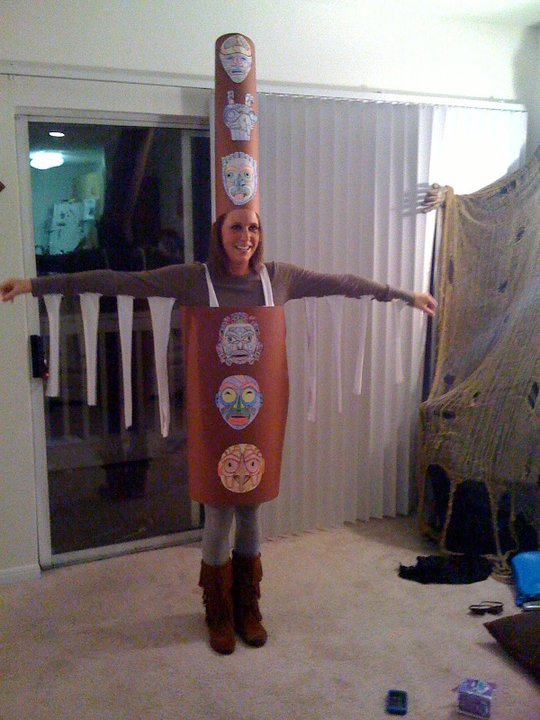 The classic totem pole. This was at the beginning of Todd and I's relationship.  He later told me that he thought it was so strange that I wanted to be this for Halloween. He was my Indian though :)