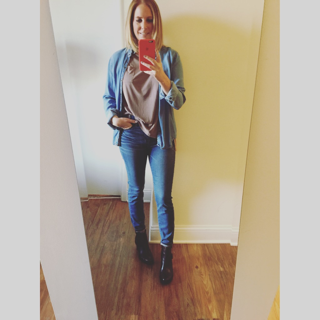 Denim Button Down: Forever 21, T-shirt: Urban Outfitters, Silence + Noise Freya Pocket Tee ,Jeans:Madewell, High-Riser Skinny , Boots: Born, Ondine Ankle Boot