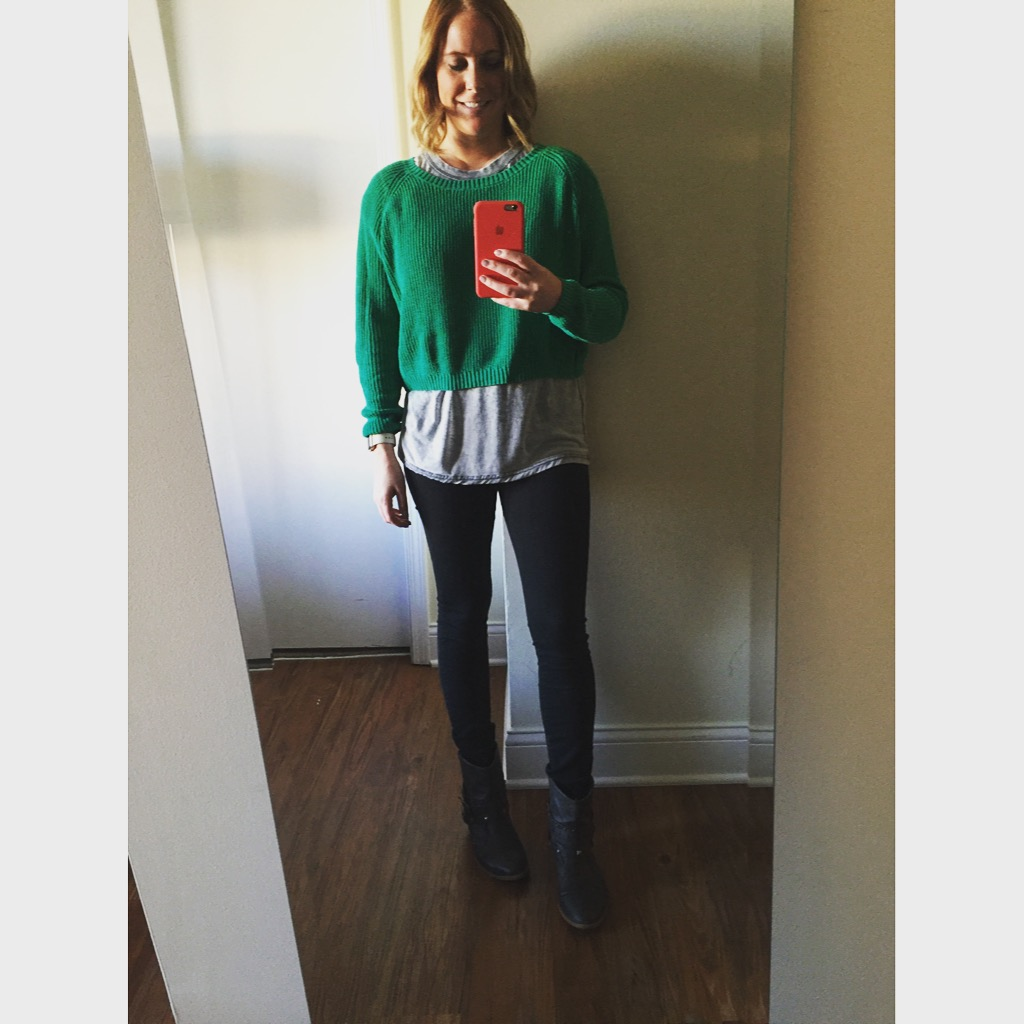 Sweater:Target, T-shirt: Topshop,Jeans:Express, Legging, Mia-Mid Rise ,Boots: Target
