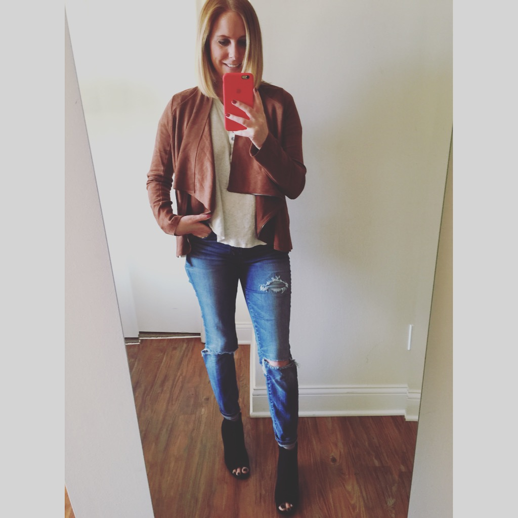 Jacket: Altar'd State, T-Shirt: Free People, We The Free Downtown Girl Henley ,Jeans:Madewell, High Riser Skinny , Booties:Old Navy, Sueded Open-Toe Ankle Boots