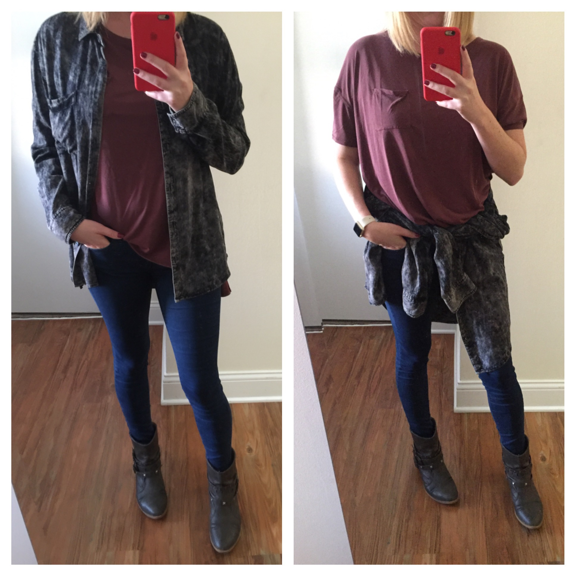 Button Down: Urban Outfitters, T-shirt: Urban Oufitters, Silence + Noise Freya Pocket Tee , Jeans:Gap, 1969 Resolution legging jean ,Boots:Target