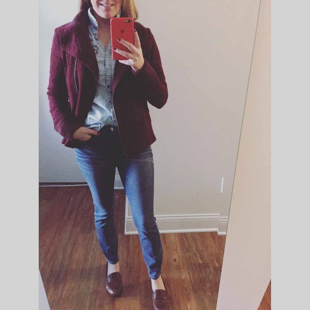 Jacket: Anthropolgie, Button Down: Target, Jeans:Madewell, High-Riser Skinny , Shoes: Macy's,Born, Dinah ,