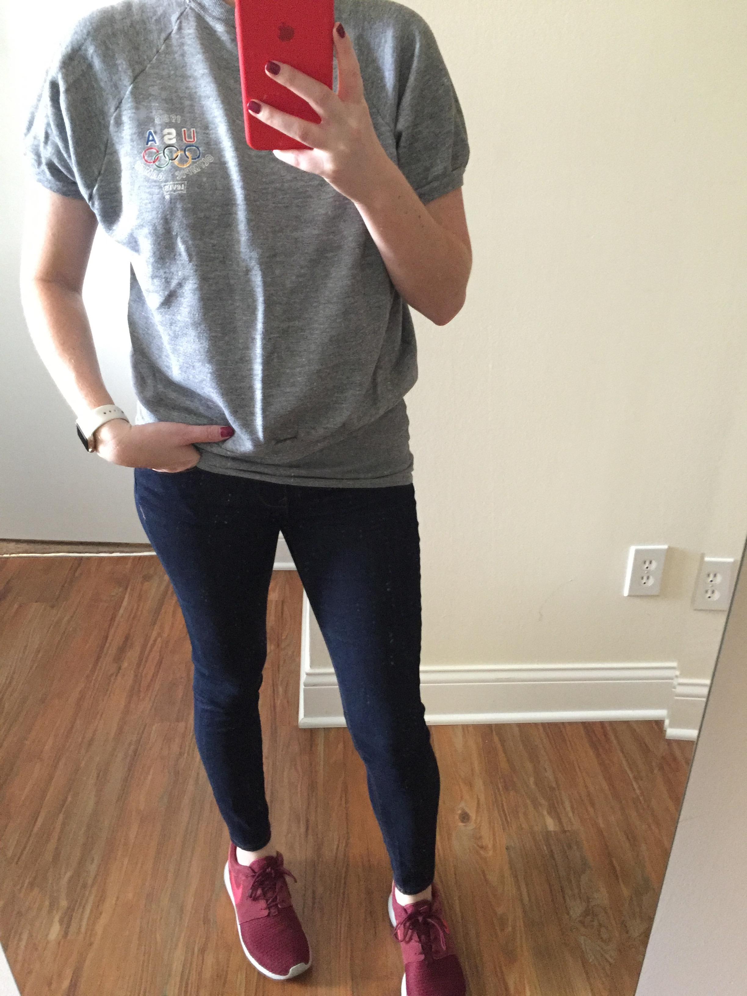 Sweatshirt: Goodwill, Jeans:Express, Solid Dark Mid Rise Jean Legging ,Shoes:Nike, Roshe One