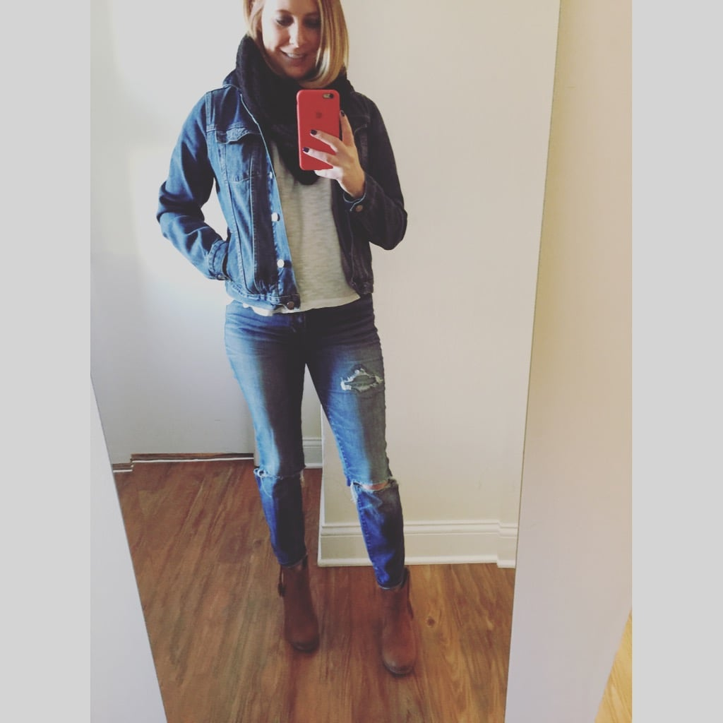 Jacket: Gap,  1969 denim jacket , Jeans: Madewell,  High Riser Skinny , Boots: Aldo Scarf: Old Navy,  Open-Weave Infinity Scarf