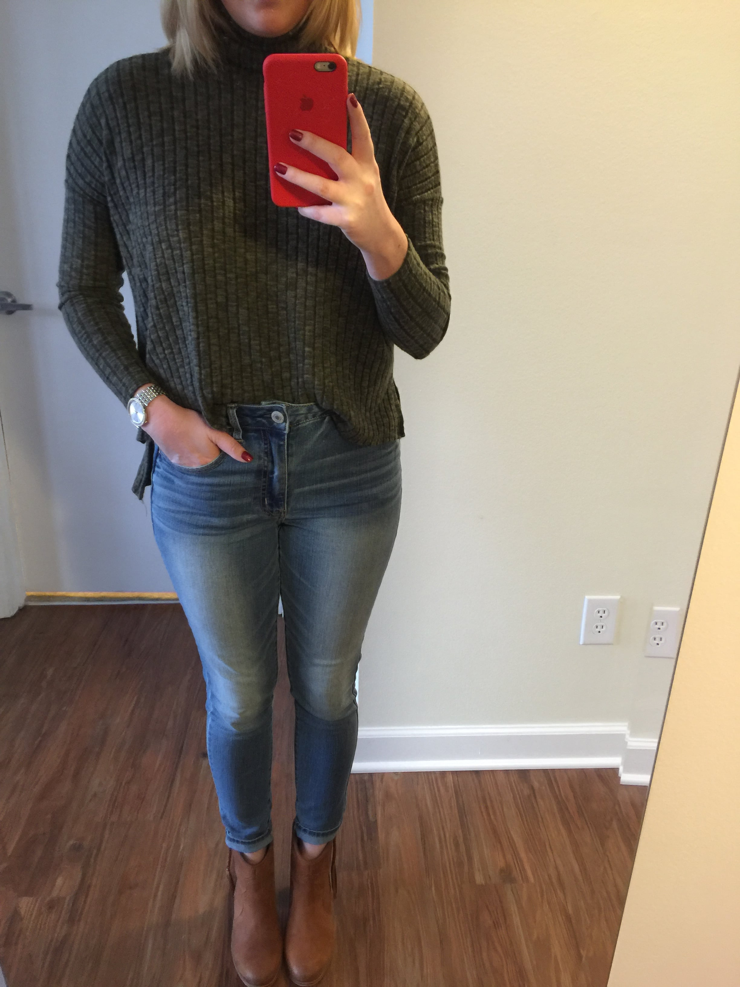 Top: American Eagle, Jeans: American Eagle,  Hi-Rise Jegging , Watch: Nordstrom,  Michael Kors 'Darci' Round Bracelet Watch, 39mm , Boots: Aldo