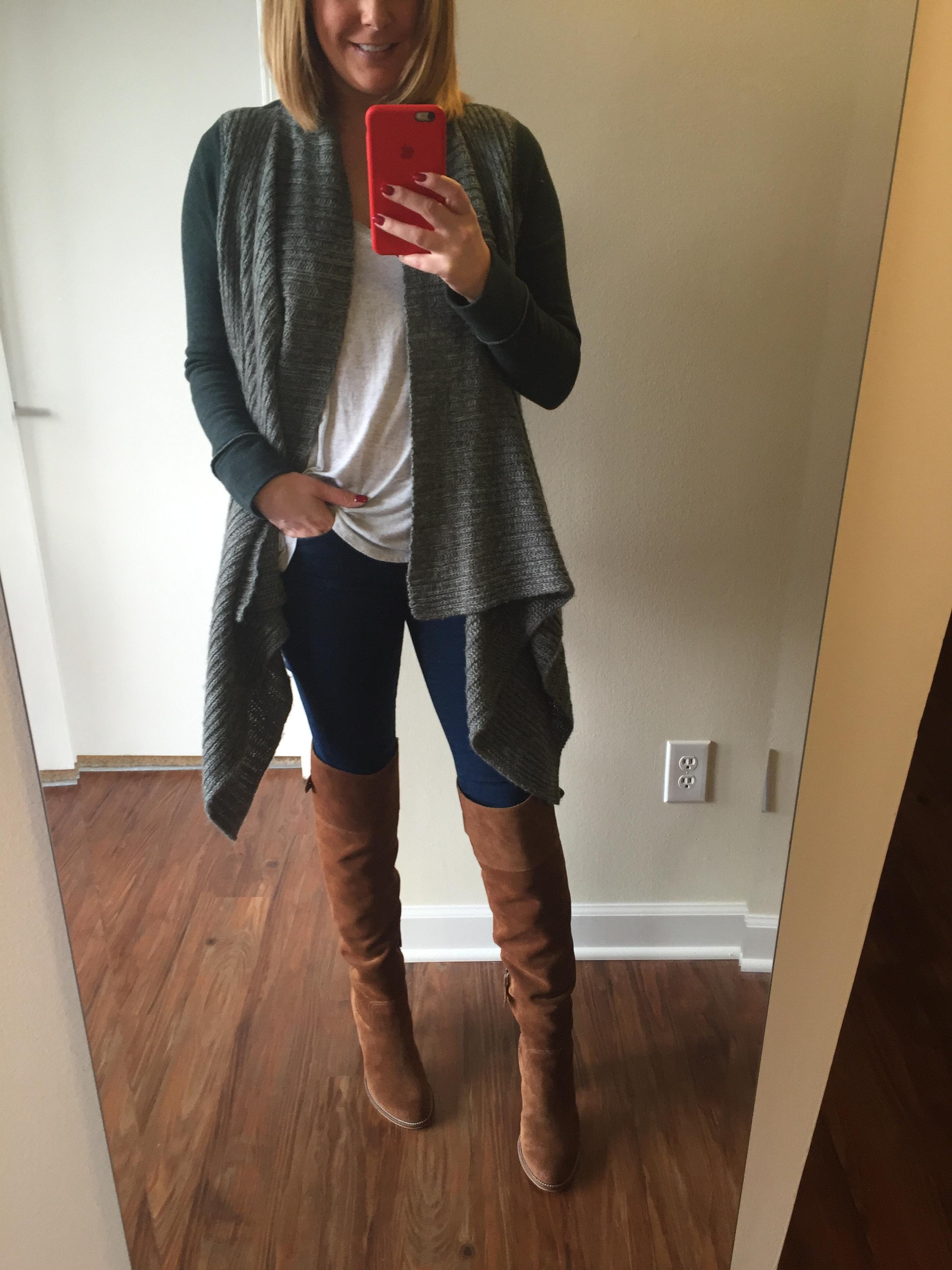 Sweater: Anthropologie, T-shirt:Anthropologie, Jeans: Gap,  1969 resolution legging jean , Boots: Dolce Vita,  OkanaKnee Boot