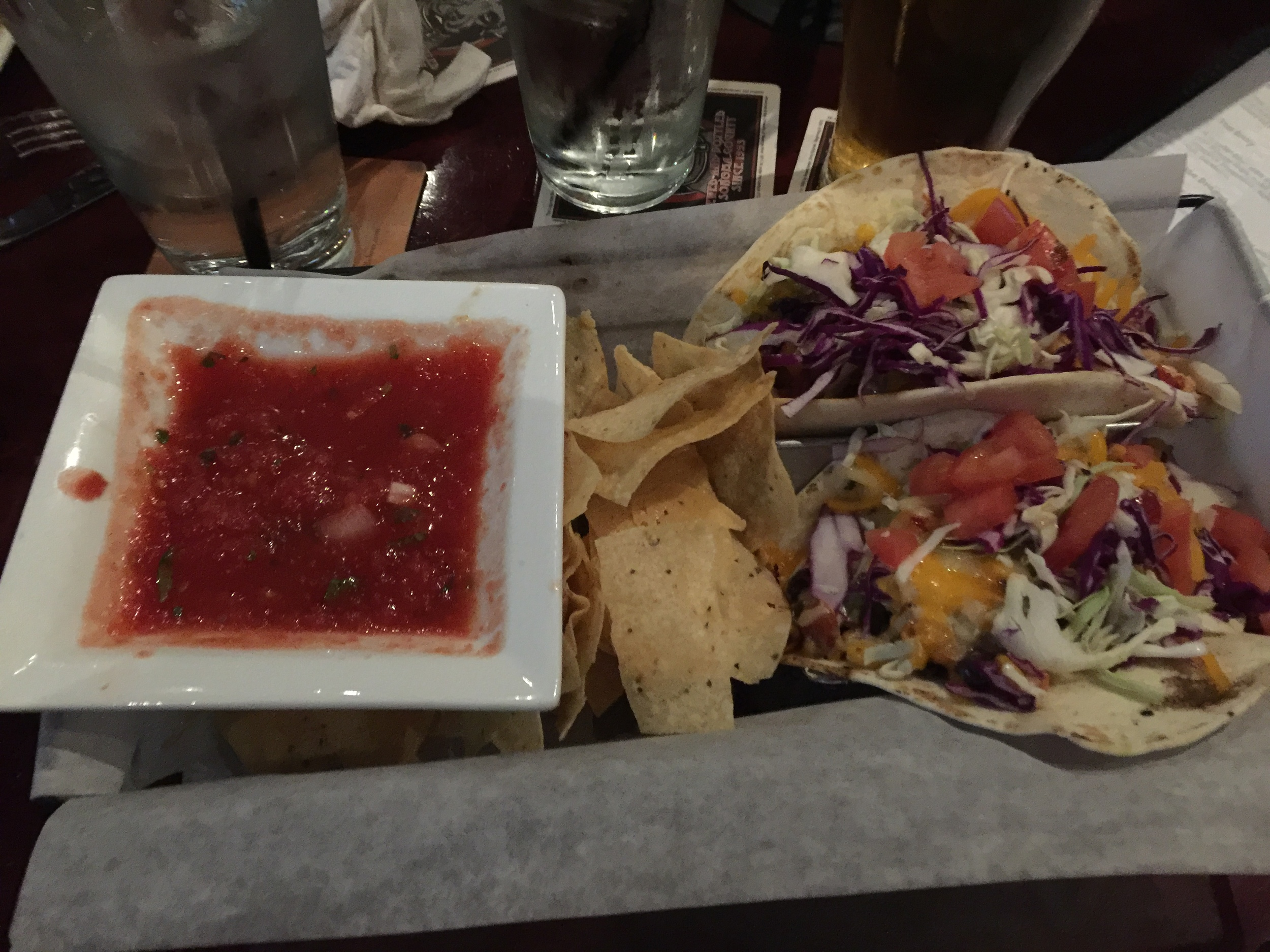 The Tap: Firecracker Shrimp Tacos. Loved these! Their homemade salsa is so good too. They have quite a variety of tacos and I want to try them all! (A lot of fish taco options.)