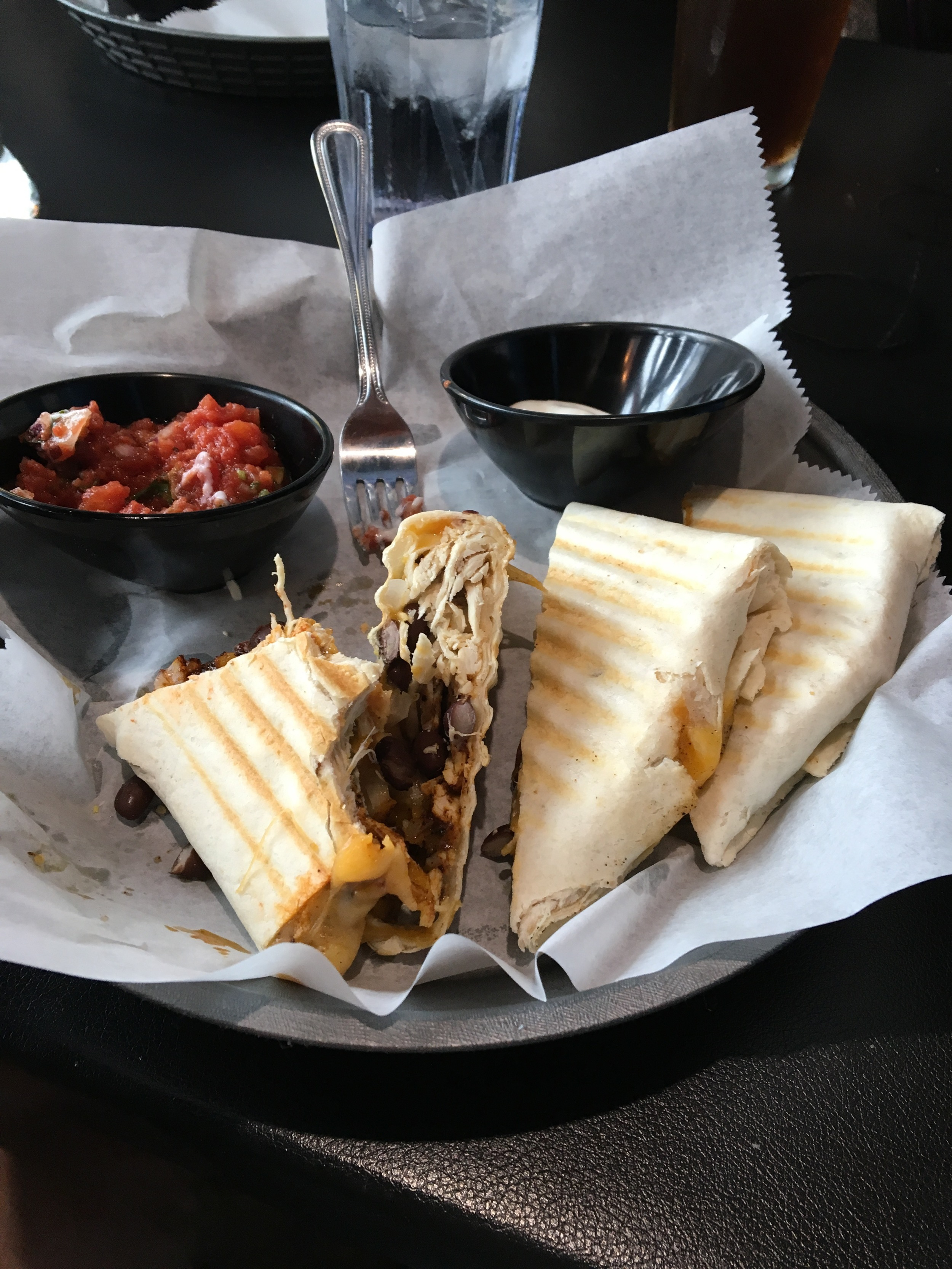 Chilly Water Brewing Company: Chicken Quesadilla. (I started eating this before I remembered to take a picture :( I was hungry!) OMG this is so one of my favorite quesadillas. It was so full of flavor and their salsa is really good! Highly recommend it paired with their beers!