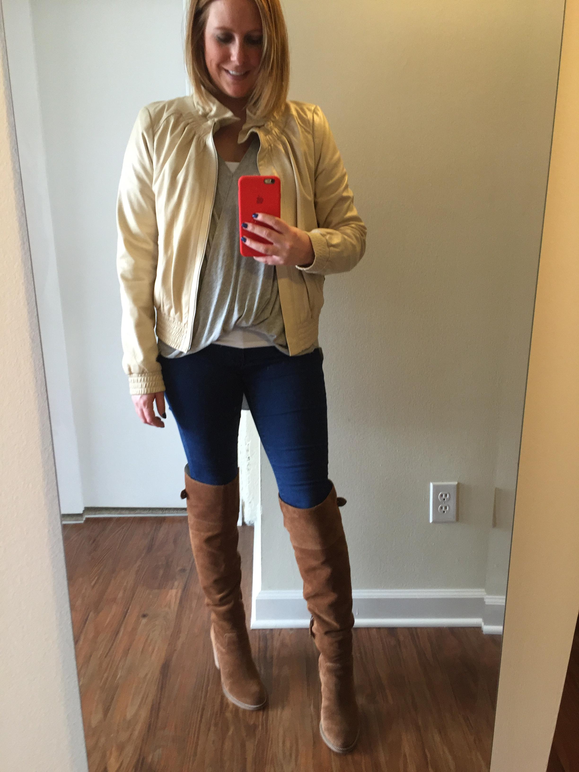 Jacket: Nordstom, Hinge, Shirt: Urban Outfitters,  Silence + Noise Wonderland Surplice Top ,Jeans:  1969 Resolution legging jean , Boots: Dolce Vita,  OkanaKnee Boot