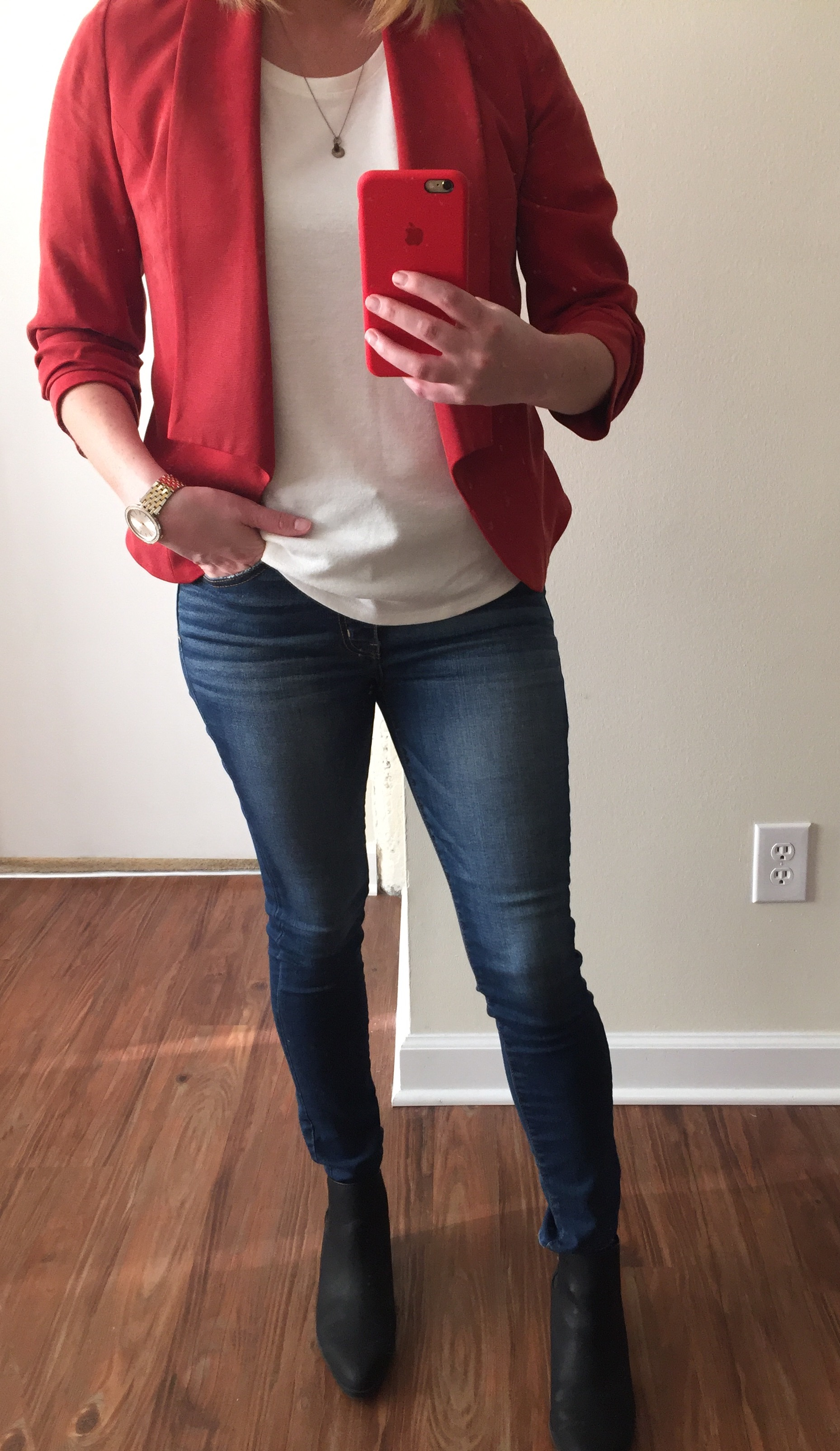 Blazer: Anthropologie, Cartonnier, T-Shirt: Loft,  Fine Melange Tee , Jeans: American Eagle,  Hi-Rise Jegging,  Booties: Old Navy,  Short Ankle Boots , Watch: Nordstom,  Michael Kors Darci Round Bracelet Watch