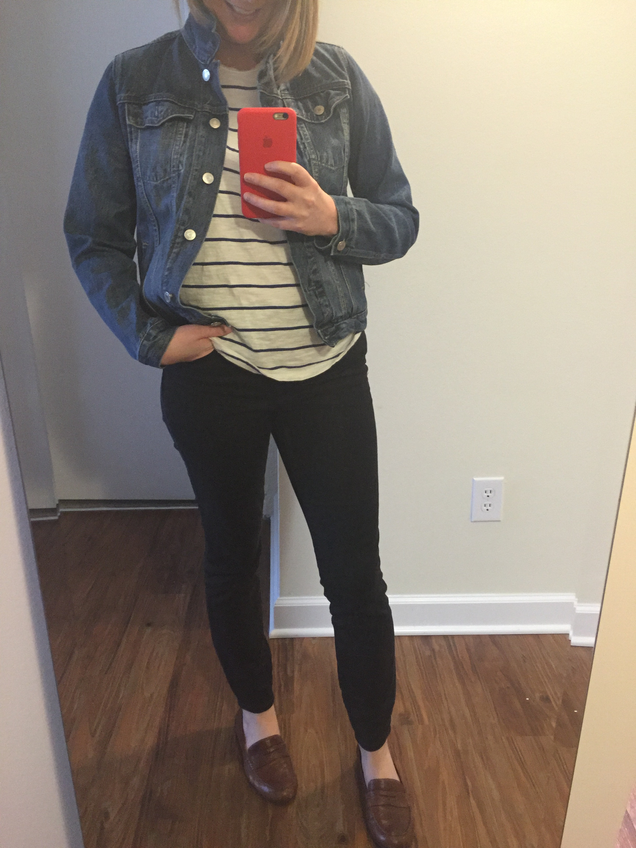Jacket: Gap,  1969 denim jacket , Tee: Madewell,  whisper cotton crewneck , Jeans: Madewell,  high riser skinny skinny ,  Loafers: Born, Dinah Penny Loafer