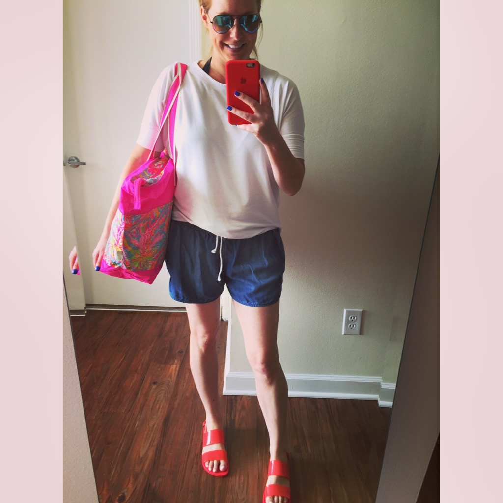 Top: Dottie Couture, Shorts: Target,  Mossimo Supply Co , Bag: Lilly Pulitzer,  Sail Away Beach Tote , Sandals: Old Navy,  Faux-Patent Double Strap Sandals , Sunglasses: Ray-Ban,  Aviator Flash Lenses Gradient