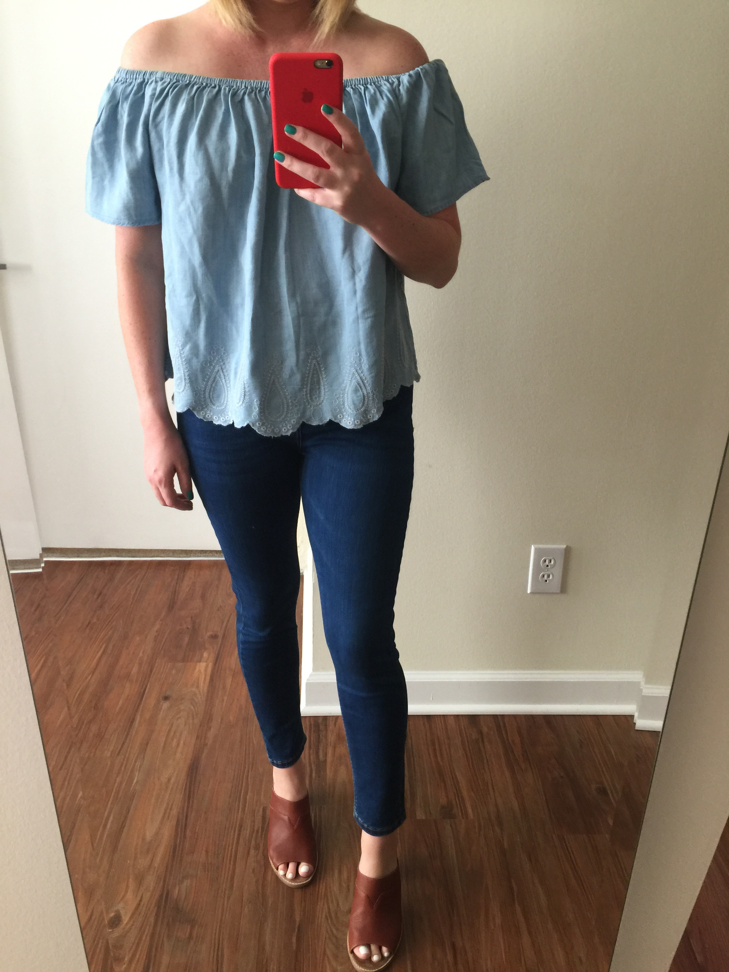 Top: Gap,  Tencel off the shoulder top , Jeans: Nordstrom, Topshop,  Jamie High Rise Ankle Skinny Jeans , Mules: Nordstrom, Toms,  Majorca Mule Sandal