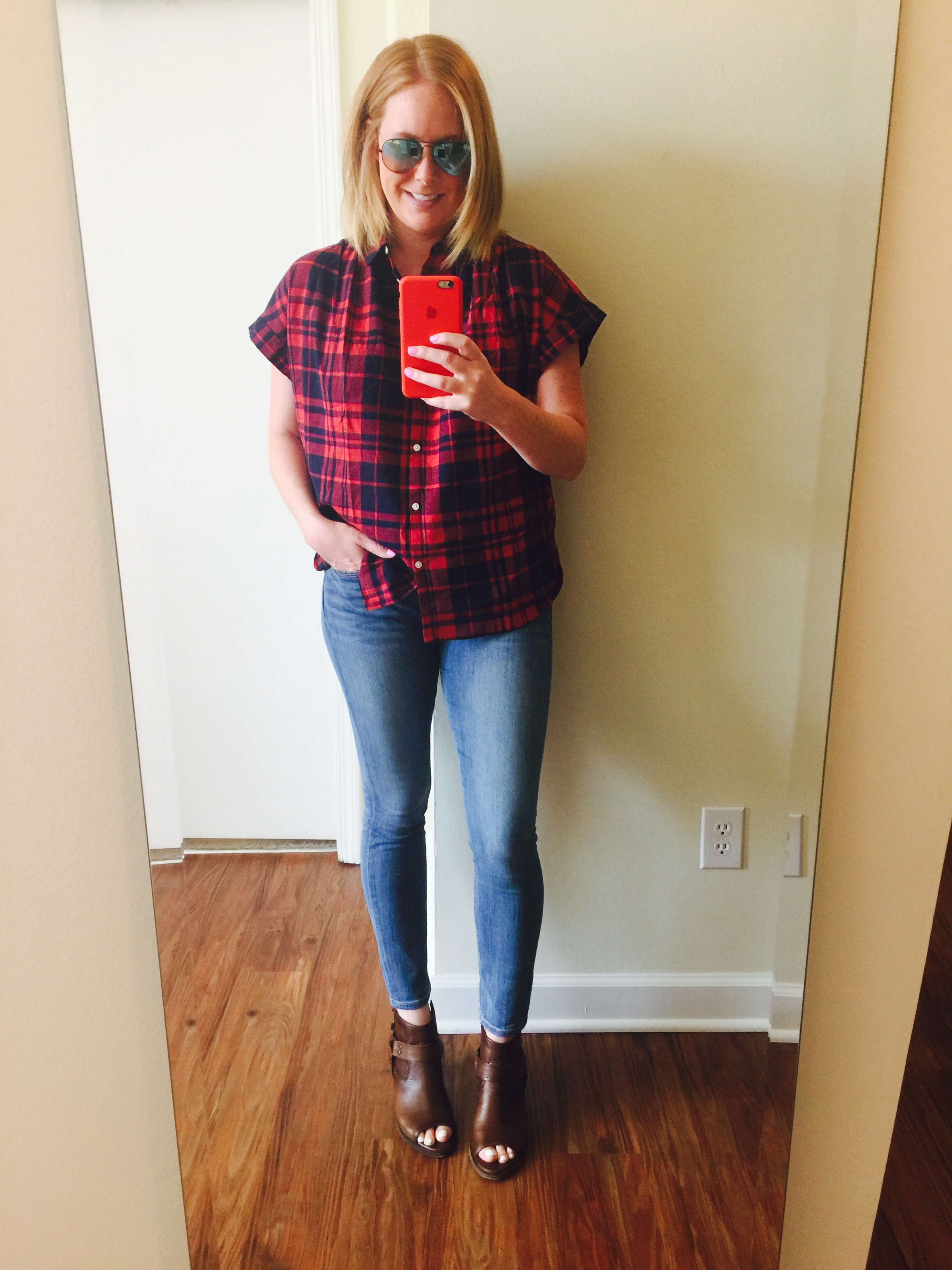 Top: Madewell,  central shirt   Jeans: Express,  Faded Medium Wash Blue Mid Rise Jean Legging    Shoes: Frye,  izzy harness sling    Sunglasses: RayBan,  Aviator Flash Lenses Gradient  (in Black-Blue)