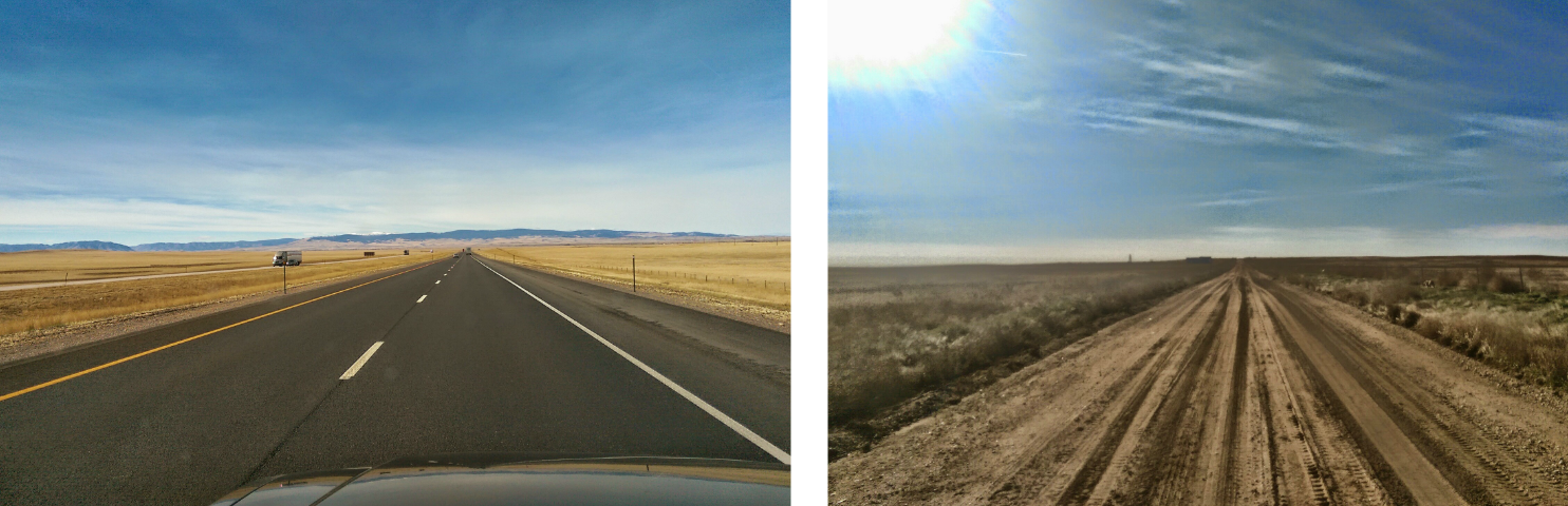The open highways and barren country roads of Colorado.