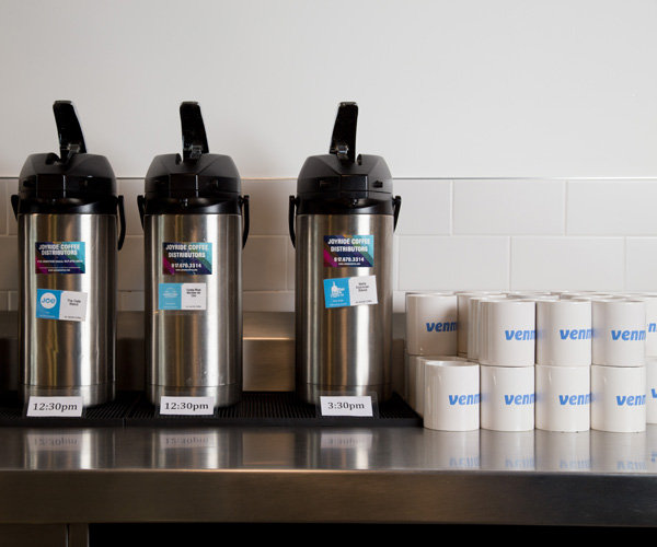 Joyride Coffee airpots on display in a NYC office.