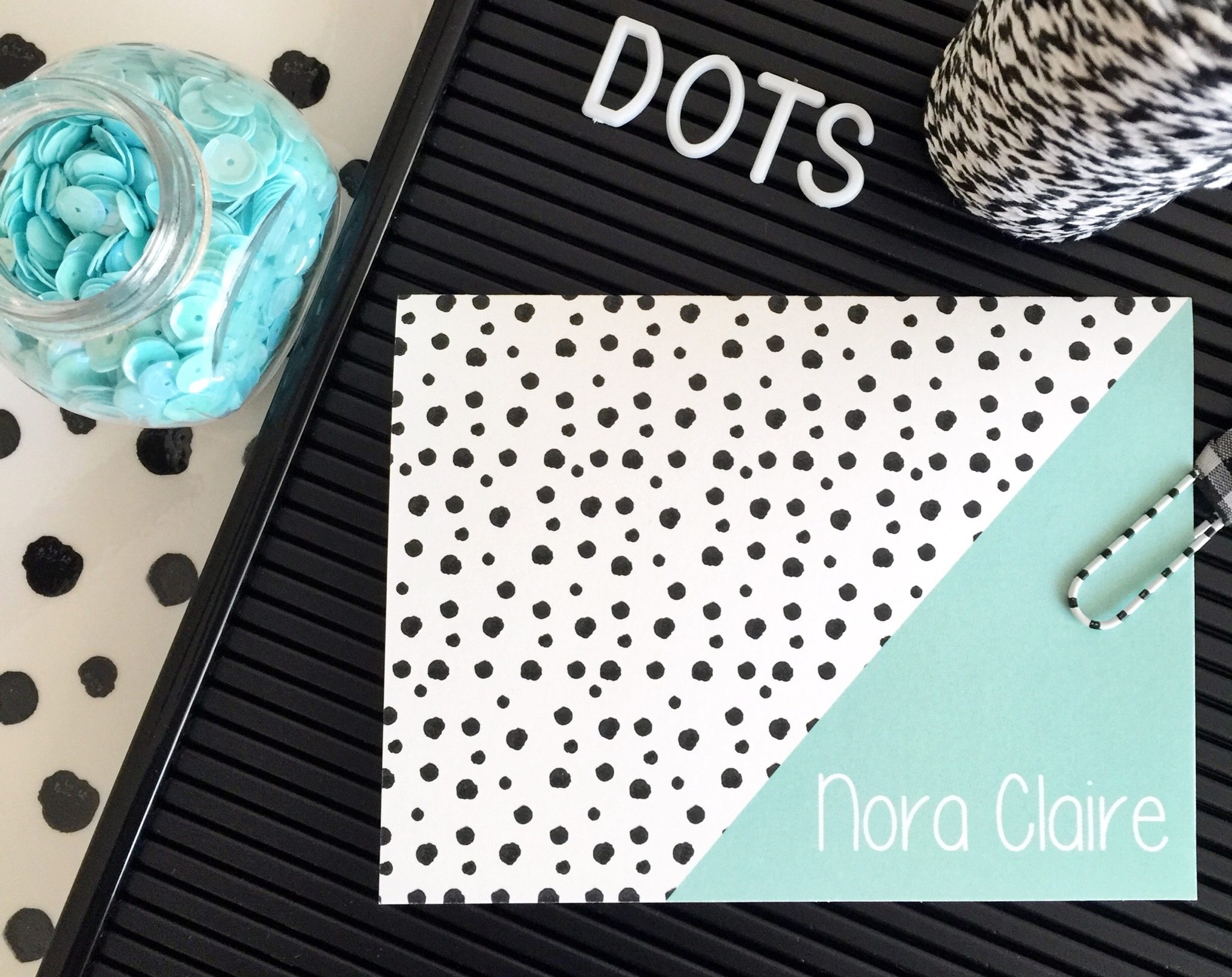spotty dot monogrammed note cards