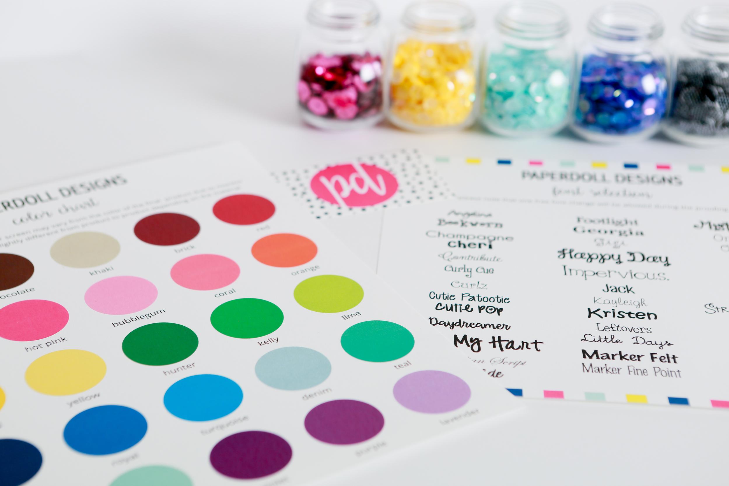 PaperDoll Designs Color Chart Font Chart