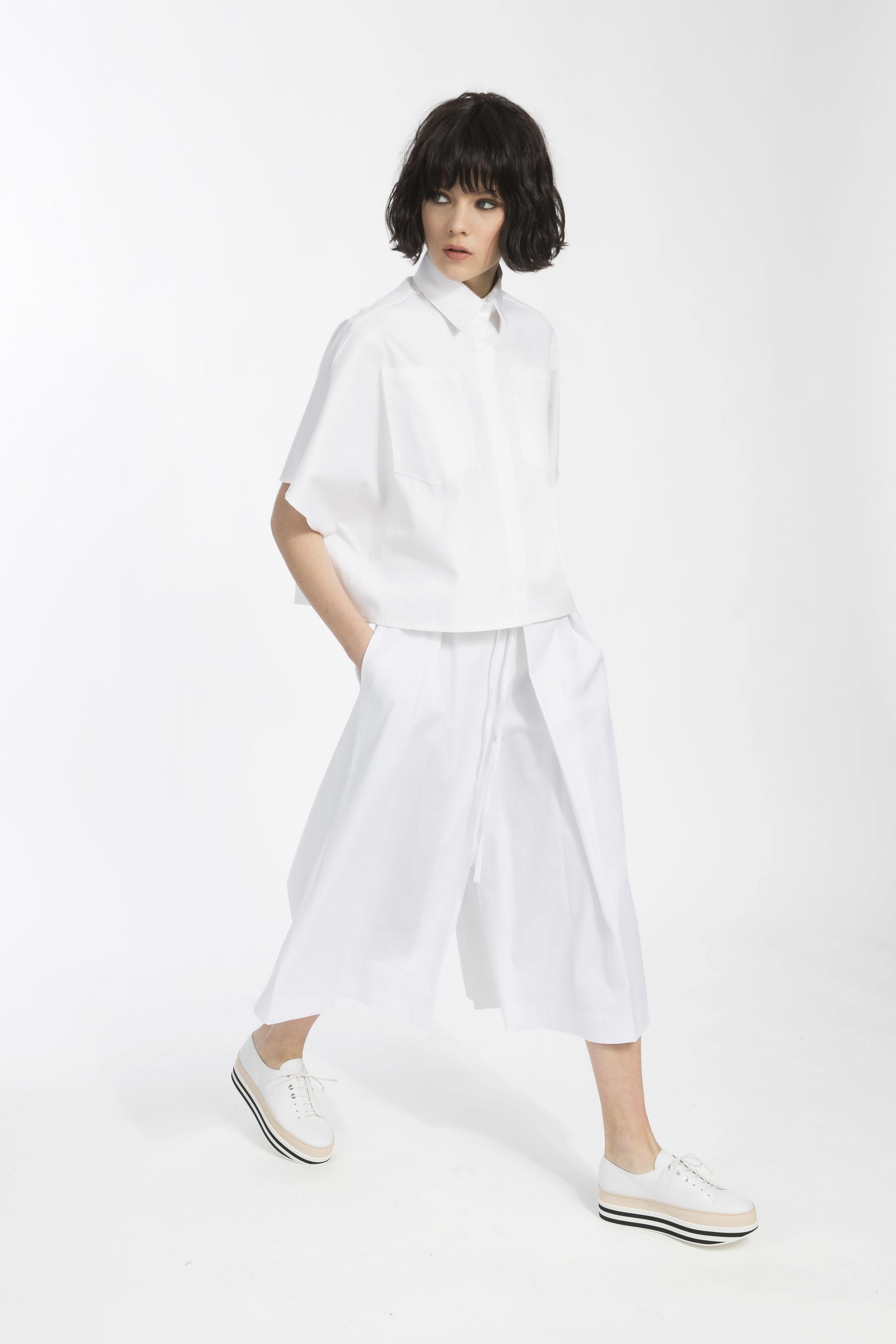 Deena shirt - White cotton popeline shirt