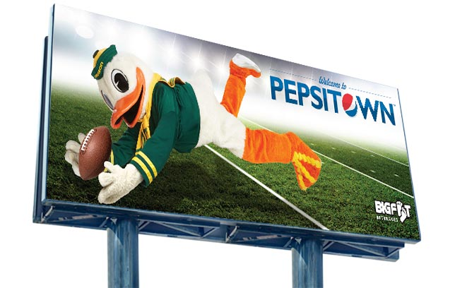 Bigfoot / Pepsi - Football Duck billboard demonstrates Bigfoot Beverages and Pepsi's ongoing support of the University of Oregon Ducks.