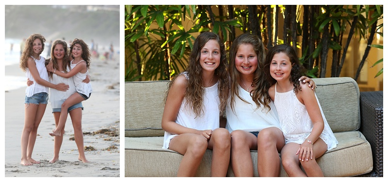 Sisters in white vacationing on the West Coast captured by our California photographers.