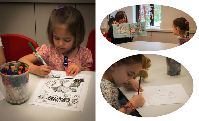 "Little ones worked on the official ""Grumpy Pets"" activity sheets, as well as drew their own wonderful pets."