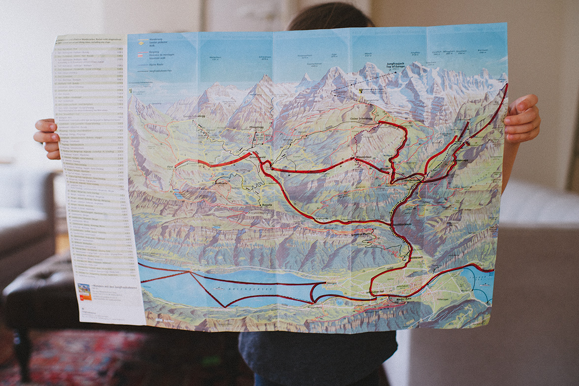 We marked our map everyday as we explored the Swiss Alps by foot, cable car, by train, and by boat.