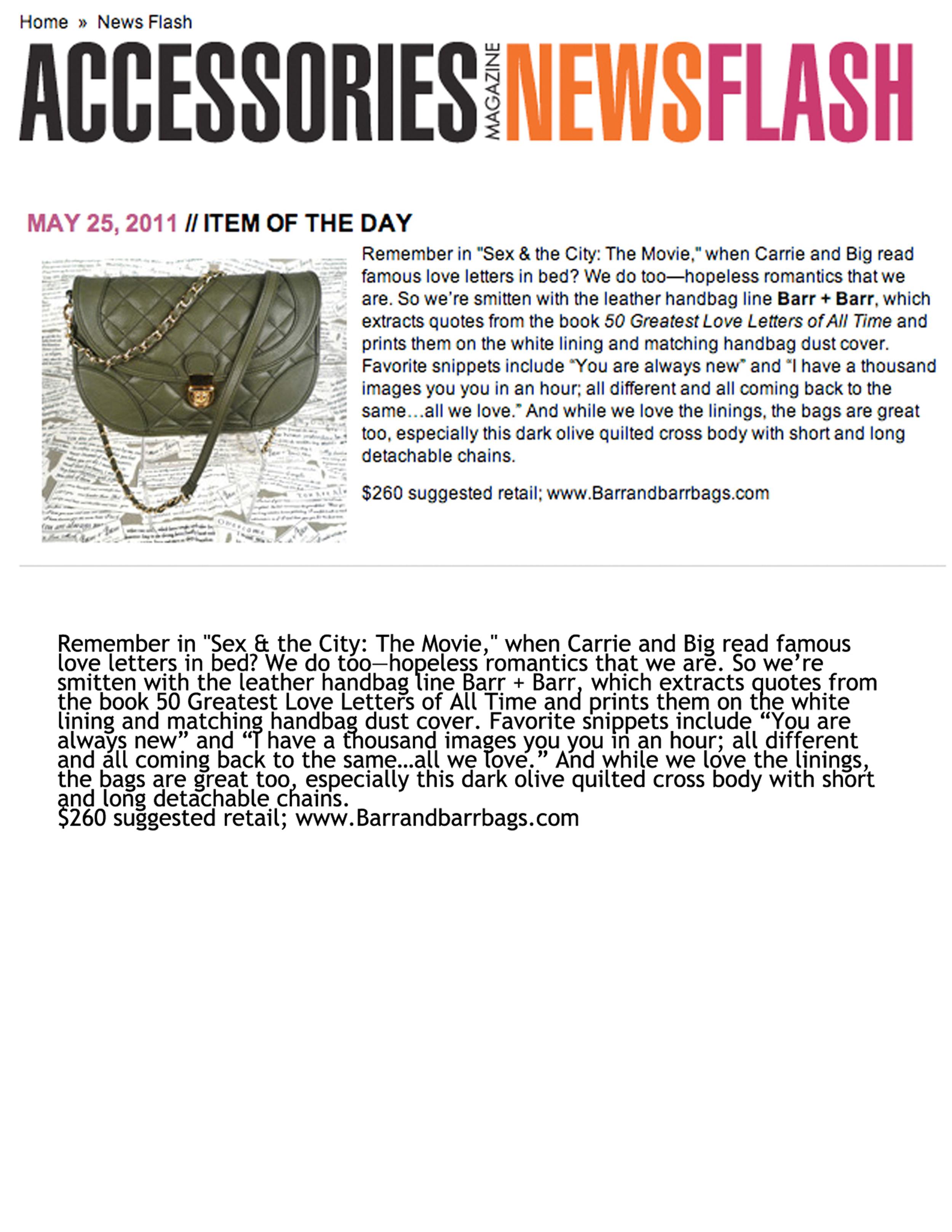 barr + barr luxury handbags and footwear designed by Helen Barr, as seen in Accessories Newsflash