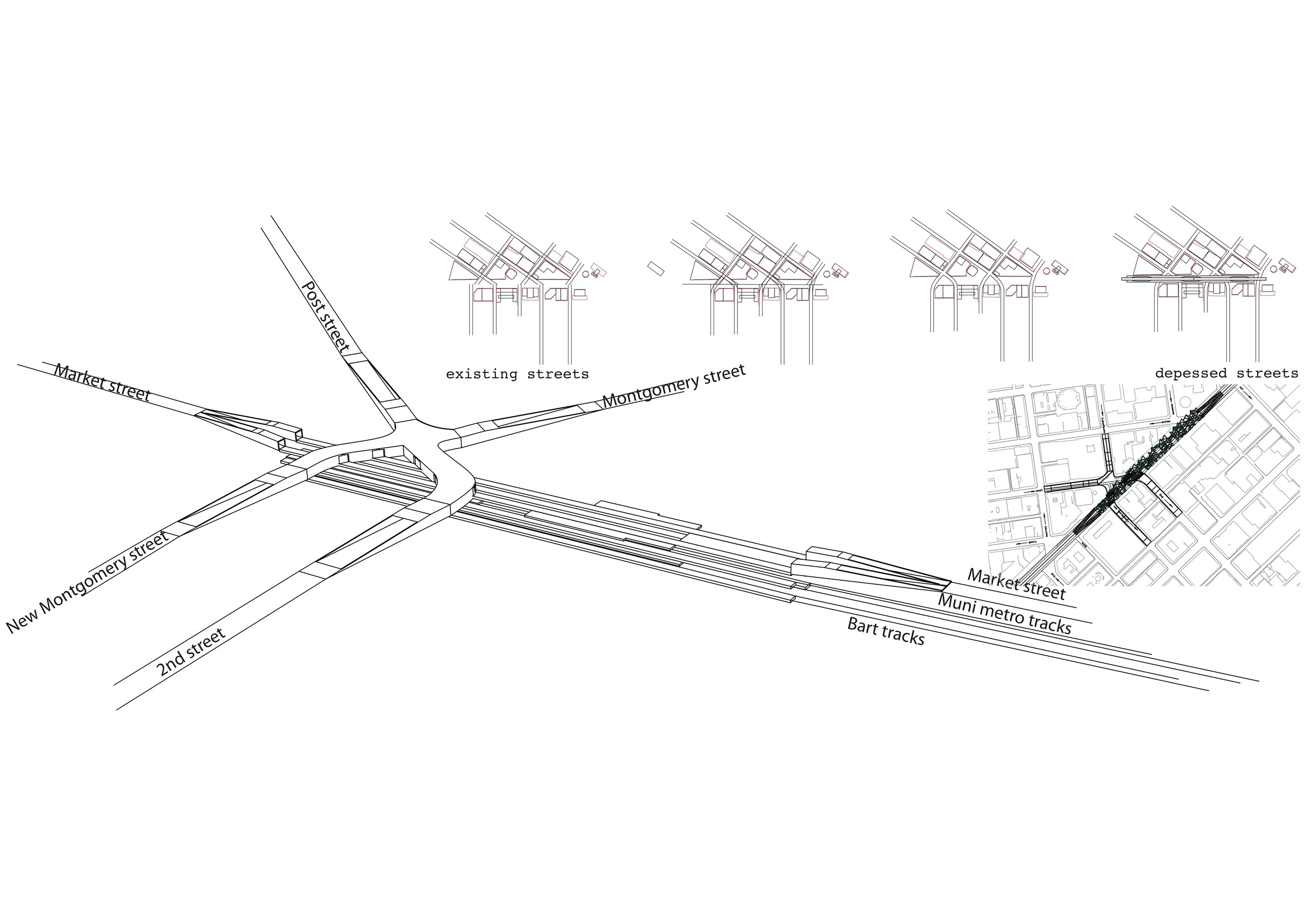 3D model depicting the subterranean traffic flow deck and tunnel infrastructure