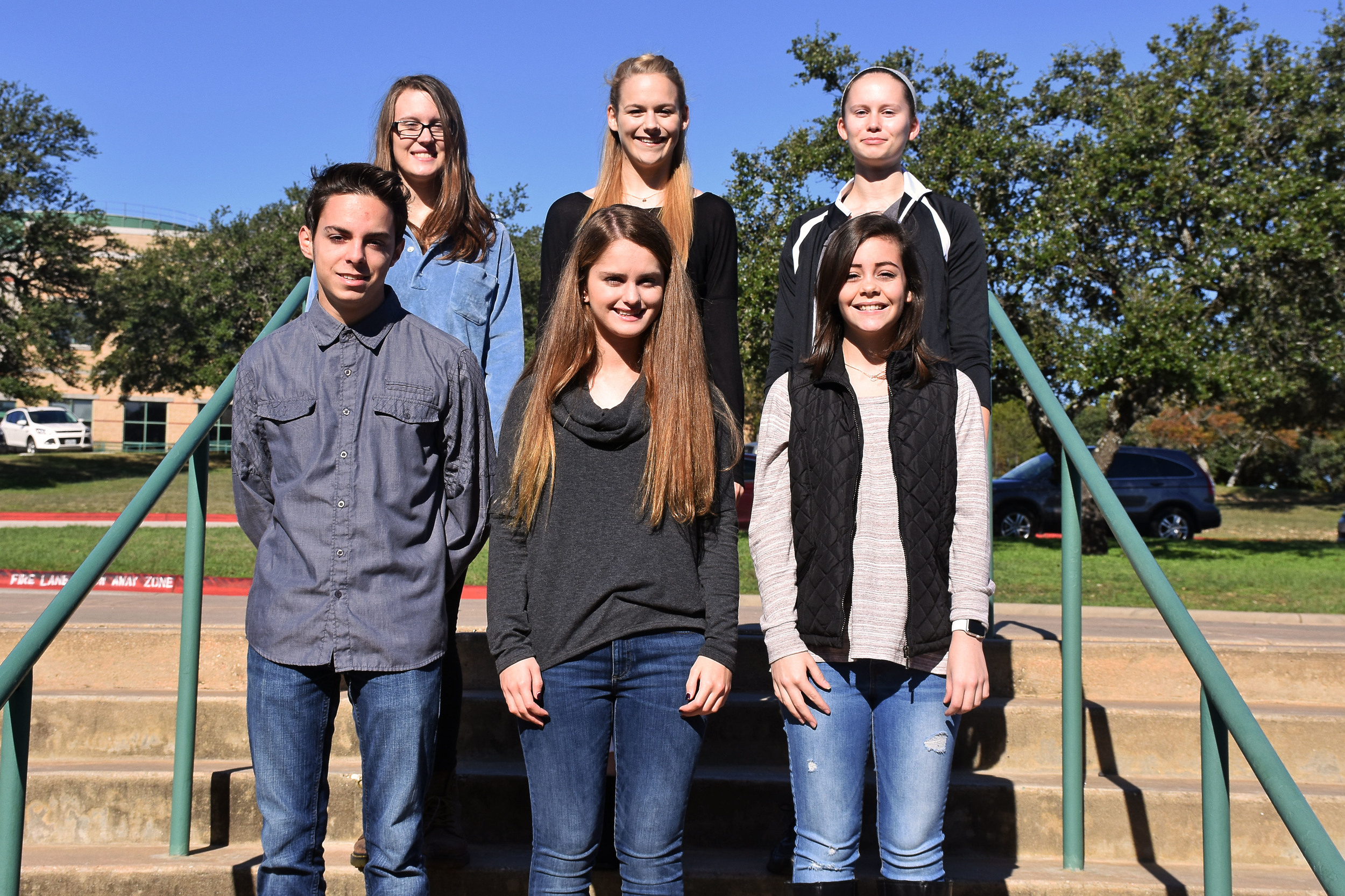 Front row, from left: David Muse, Natalie Evans, and Allee Johnson. Back row, from left: Audrey Larcher, Emily Pustelnyk, and Kathleen Kalmbach.