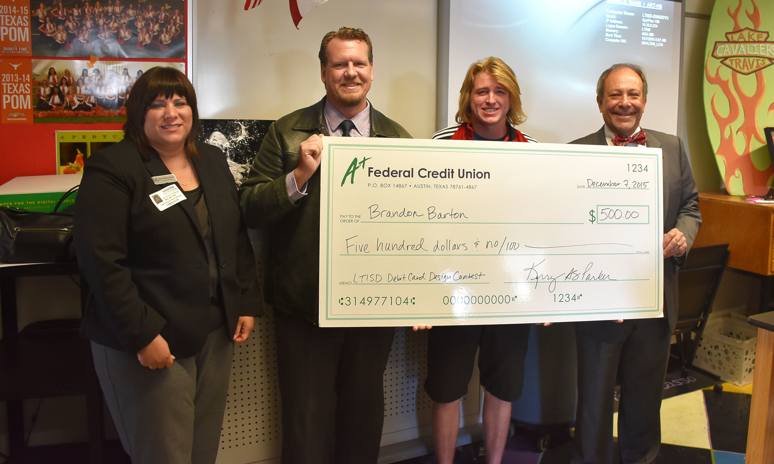 A+FCU awards Brandon Burton $500 for his card design.