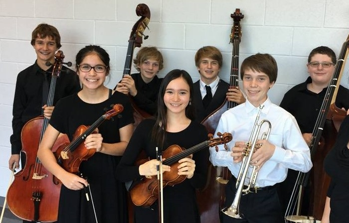 Hudson Bend Middle School    TMEA All-Region 32 Orchestra members:   (back row)  Julius Heitkoetter-7th chair cello, Eamon McHarg-1st chair bass, Hays McCannon-3rd chair bass, Robert Lemak-2nd chair bass  (front row) Yvette El-Hage-5th chair 2nd violin, Erin Fitzgerald-4th chair viola, Connor Burns-3rd chair trumpet