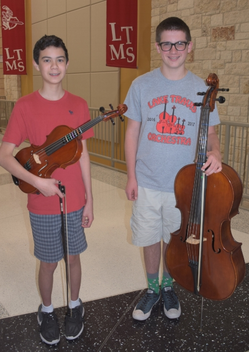 Lake Travis Middle School  TMEA All-Region 32 Orchestra members: (left) Brandon Malone - 1st Chair Viola and (right) Aidan McGoldrick - 9th Chair Cello