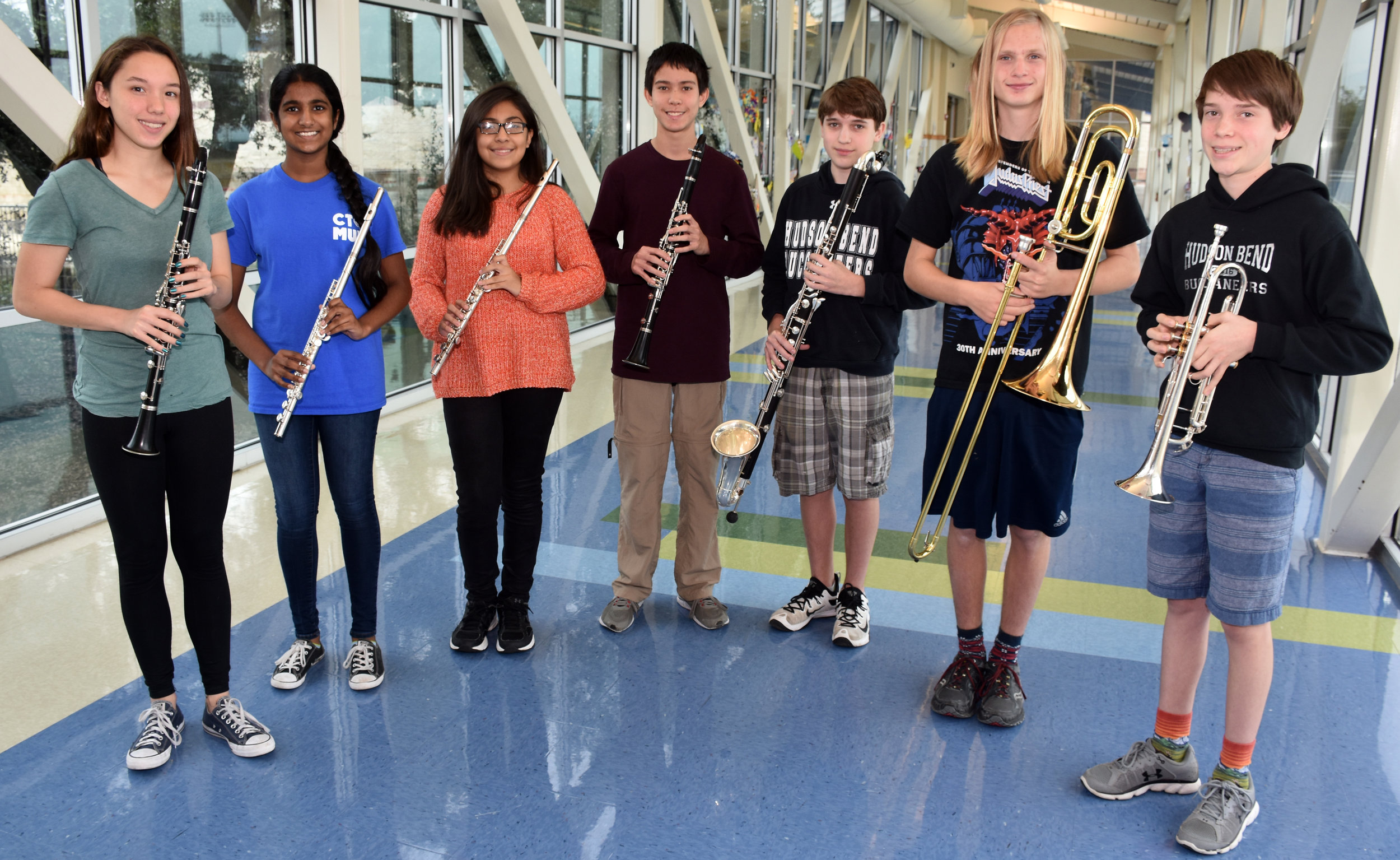 Hudson Bend Middle School TMEA All-Region 32 band members:  Lindsey Bowen ,  Swetha Ayinala ,  Daniela Sanchez ,  Stephen Cox ,  Cameron McHenry ,  Jake Frankhouse  r , and  Connor Burns ; n  ot pictured:  Elizabeth Suh  and  Nihanth Attaluri