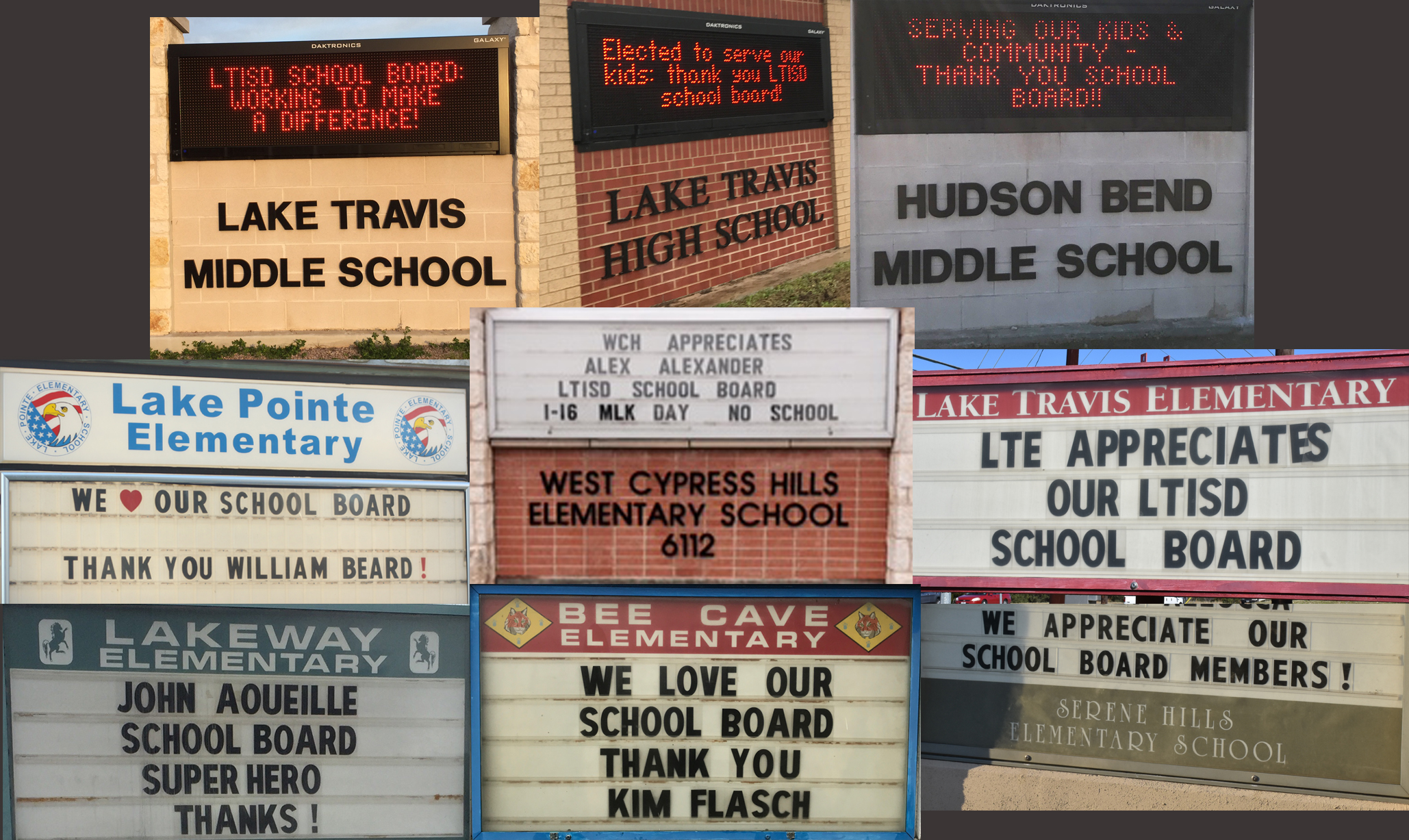 All LTISD schools displayed messages on their outdoor marquees thanking trustees for their service.