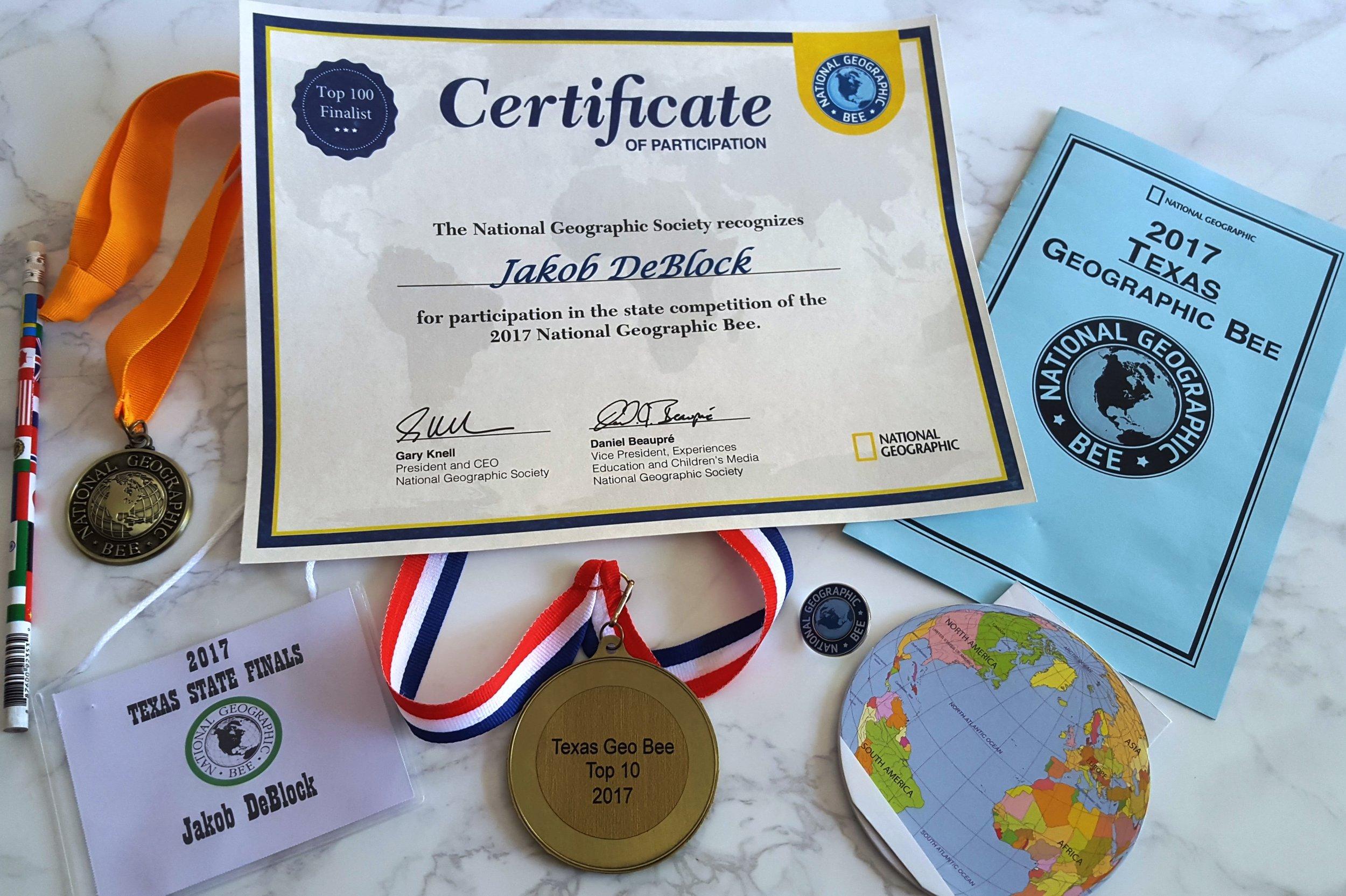 Jakob GeoBee Medal.jpg