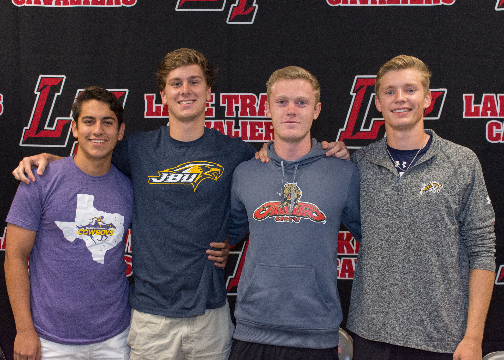 LTHS soccer student-athletes (left to right):  Angel Martinez Palomo  - Hardin Simmons University in Abilene, Texas  Max Everswick  - John Brown University in Siloam Springs, Arkansas  Austin Branam  - University of Houston-Victoria in Victoria, Texas  Bayne Bentley  - Naval Academy in Annapolis, Maryland