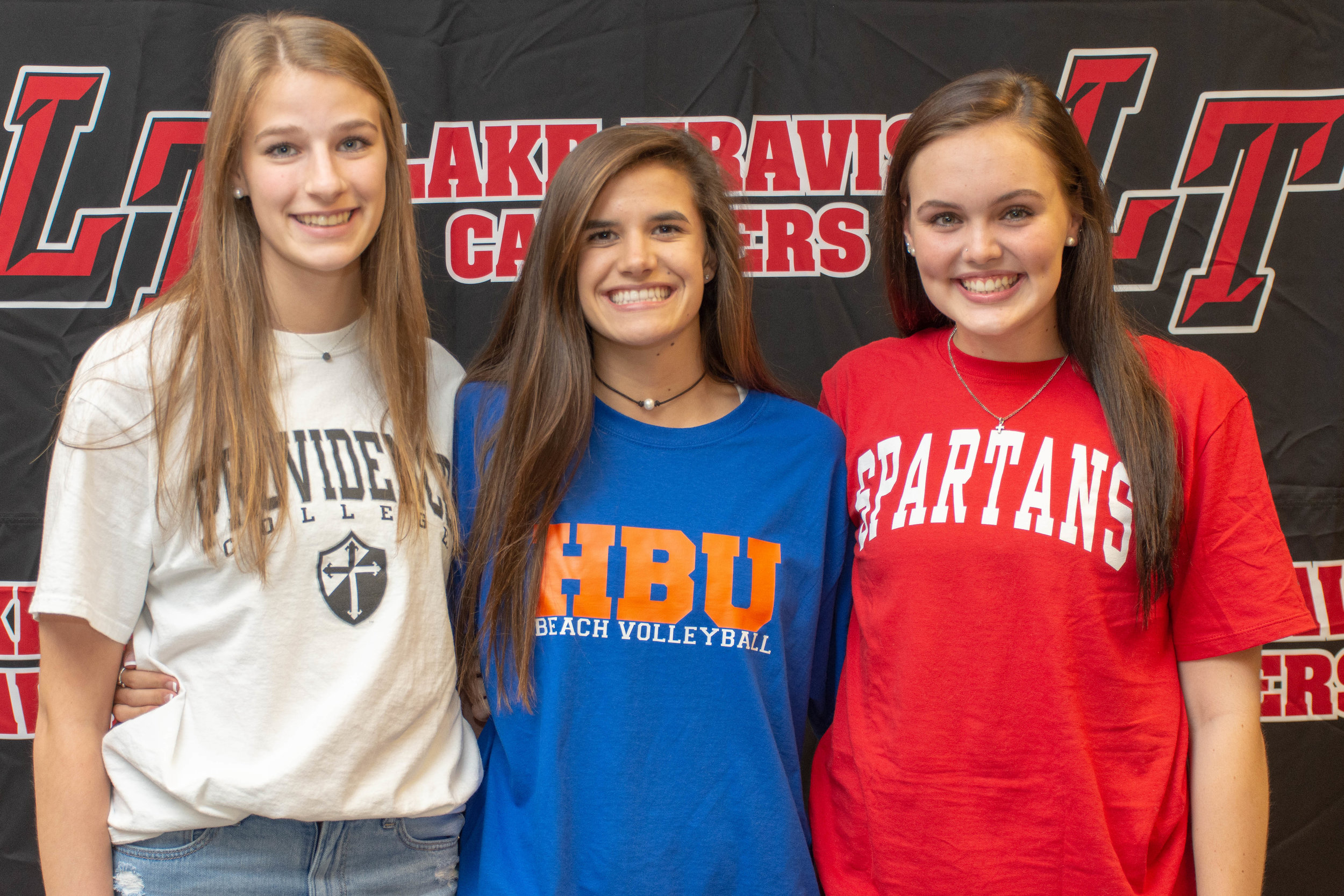 LTHS volleyball student-athletes (L to R):  Sasha Rudich  - Providence College   Kristen Kleymeyer  - Houston Baptist University   Cassidy Ehrie  - The University of Tampa