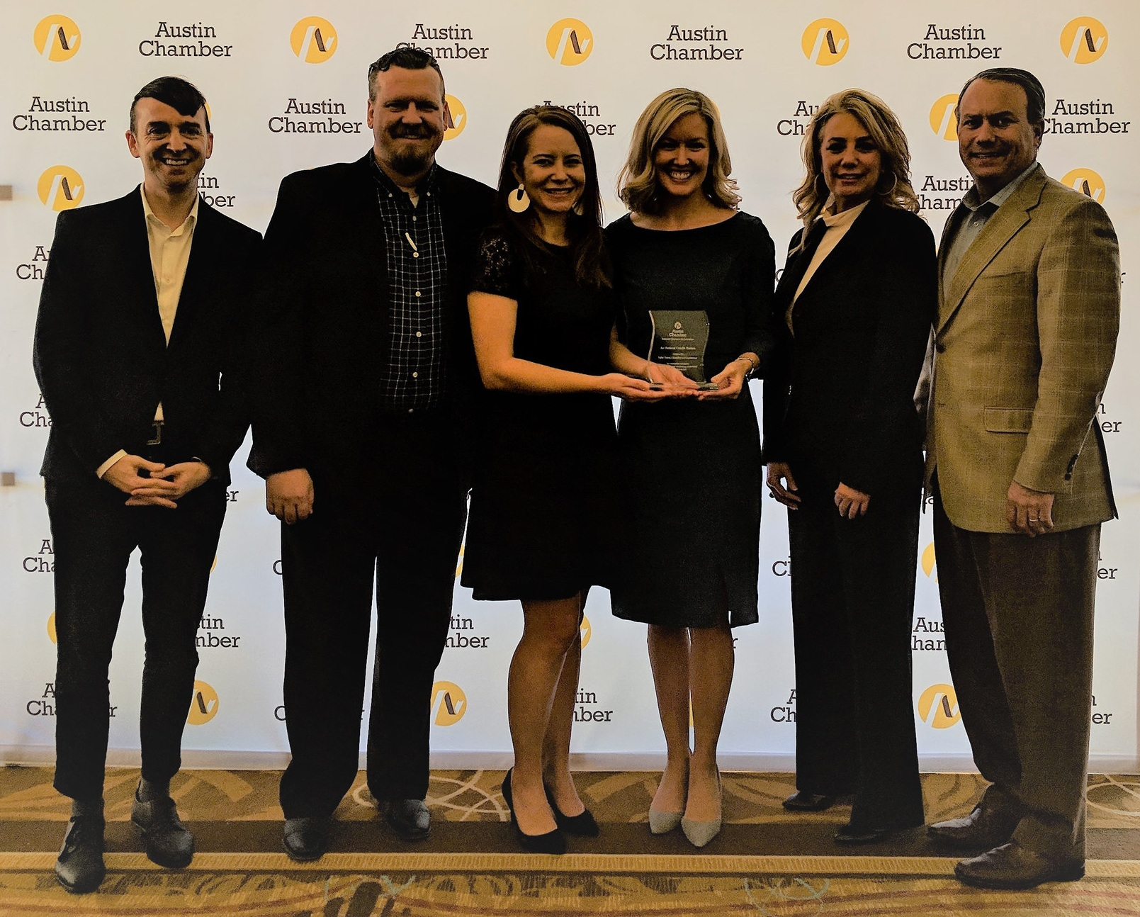 Pictured (left to right):  Stephen Miller , A+FCU Vice President of Operations;  Billy O'Briant , A+ Federal Credit Union Business Development Officer;  Emily Spiller , A+ Federal Credit Union Branch Manager;  Katie Kauffman , LTISD Director of Development and Corporate Relations;  Clarissa Cullison , Lake Travis High School business teacher/Lake Travis Junior Chamber of Commerce sponsor; and  Matt Womack , Lake Travis Chamber of Commerce Chairman.