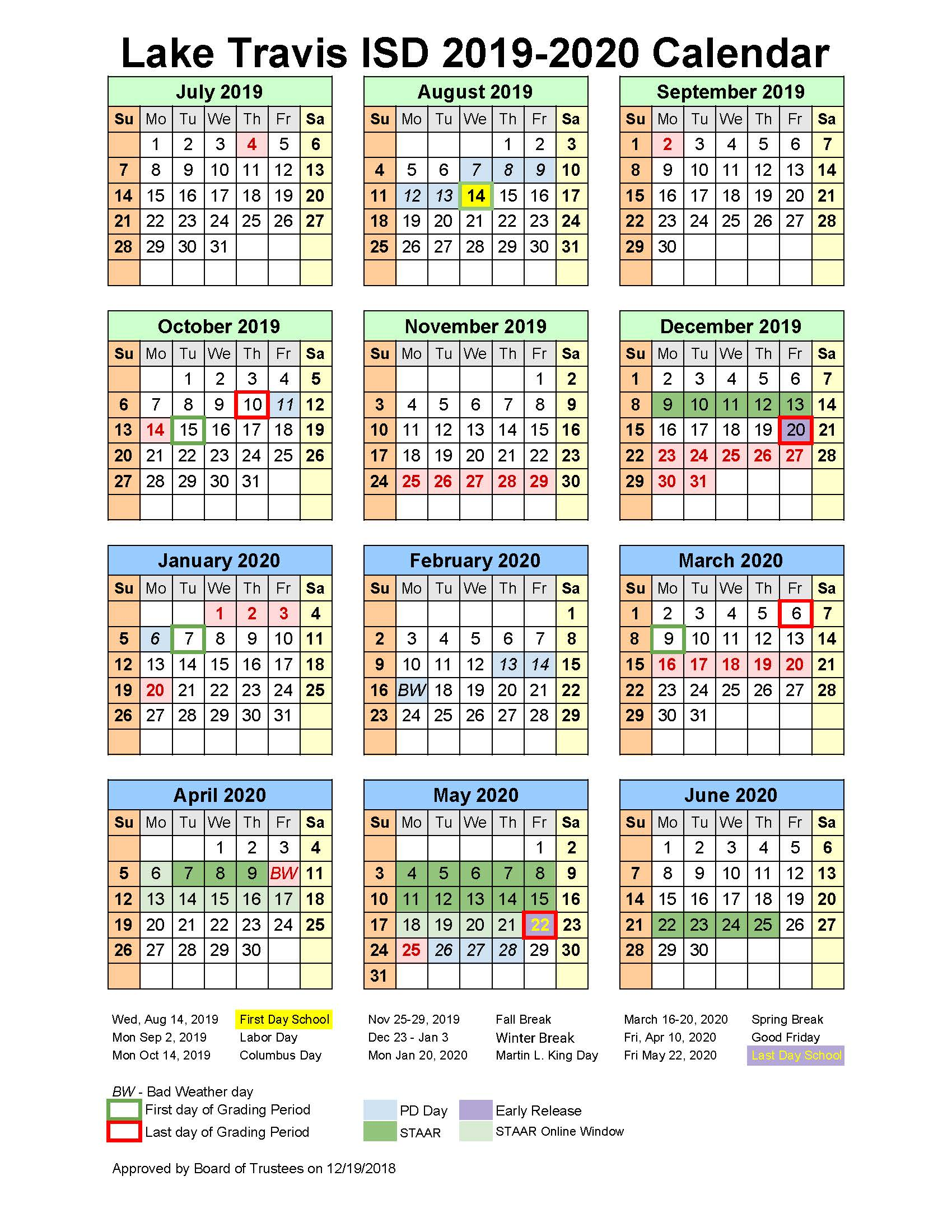 Day To Day Calendar 2020 SCHOOL BOARD APPROVES 2019 2020 INSTRUCTIONAL CALENDAR — School