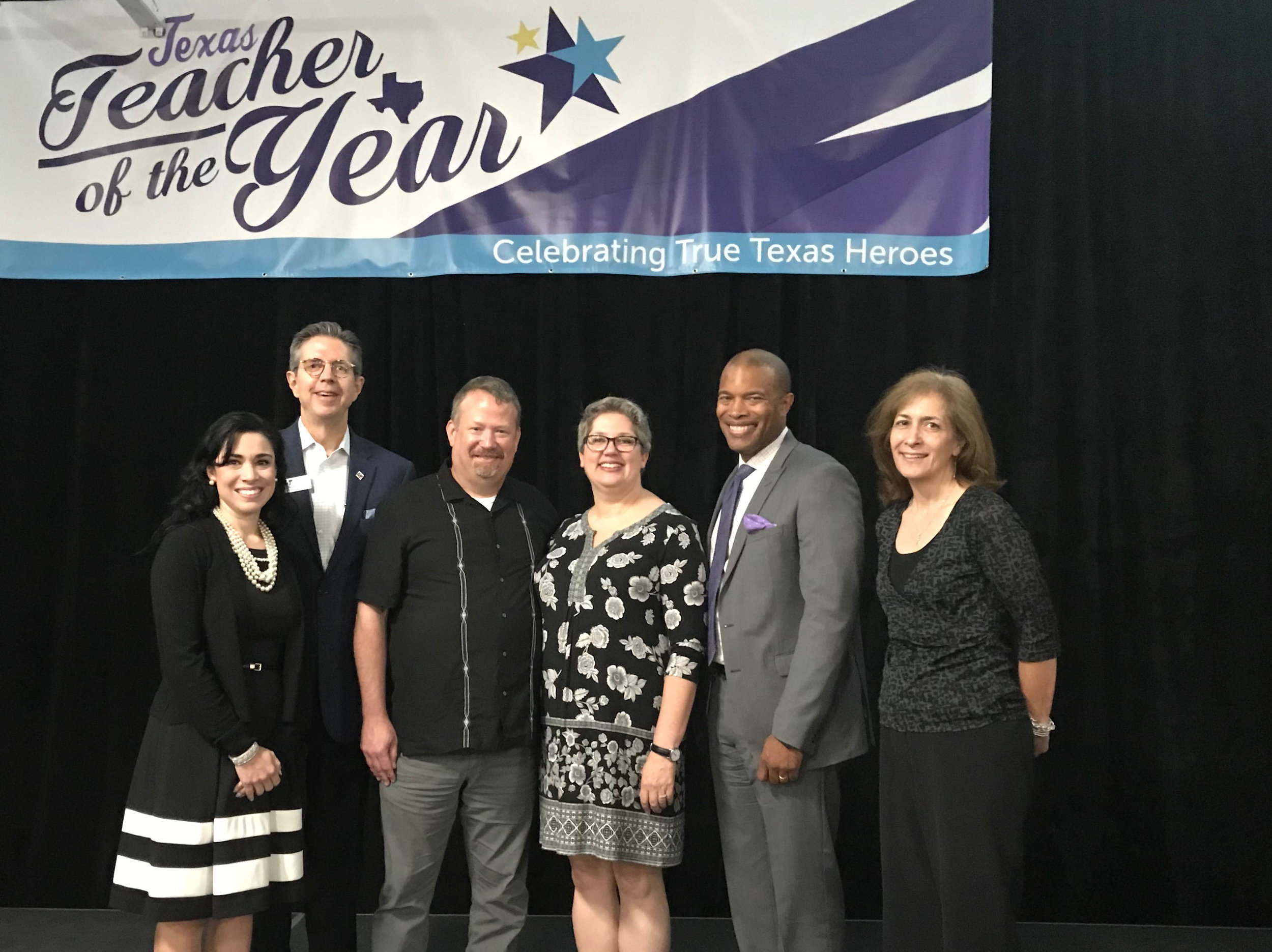 Pictured (l to r) at the 2019 Texas Teacher of the Year luncheon at the Bob Bullock Museum:  Holly Morris-Kuentz , Deputy Superintendent;  Dr. Brad Lancaster , Superintendent;  Craig Holden , social studies teacher at Hudson Bend Middle School and husband to Megan Holden;  Megan Holden , English and Art History teacher at Lake Travis High School;  Gordon Butler , principal at Lake Travis High School; and  Elizabeth Deterra , Assistant Superintendent for Learning and Teaching.