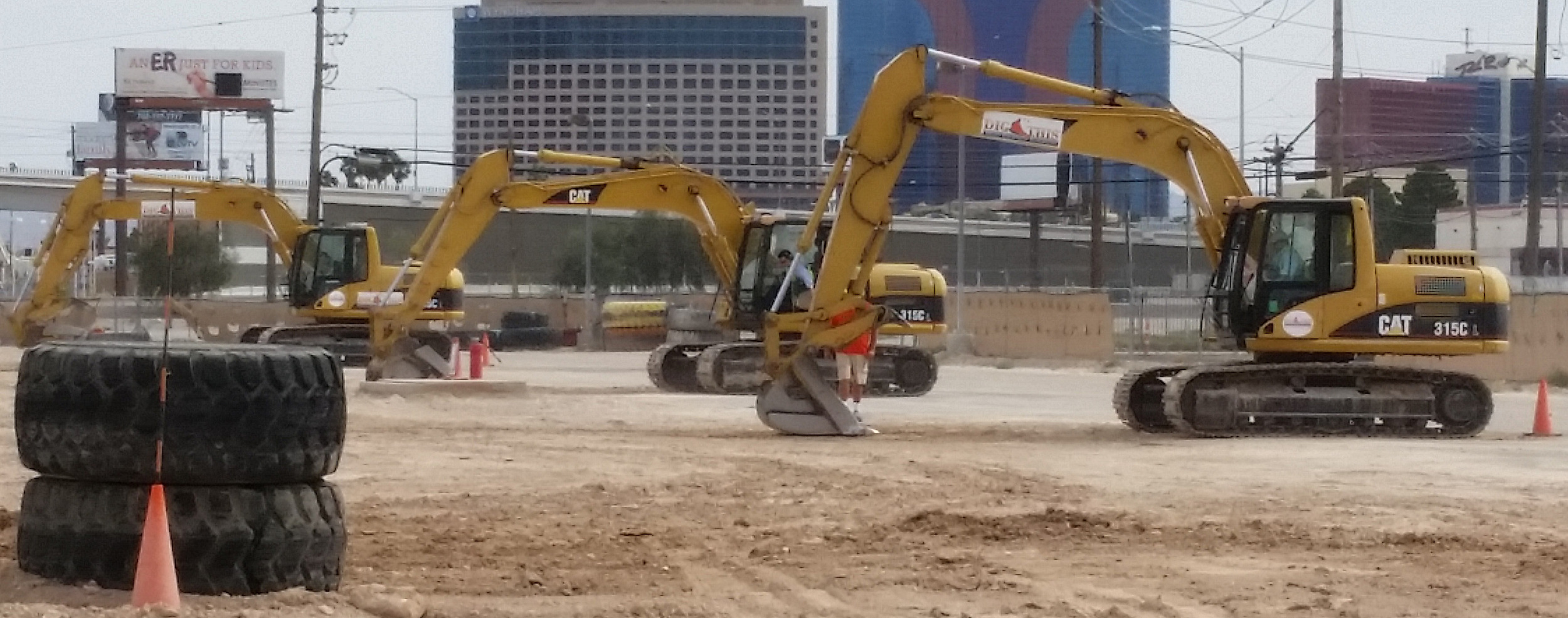 Excavator competition - who can dig the biggest hole.