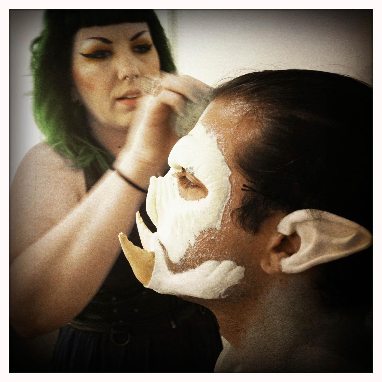 Jared endured the makeup application for 3 1/2 hours.