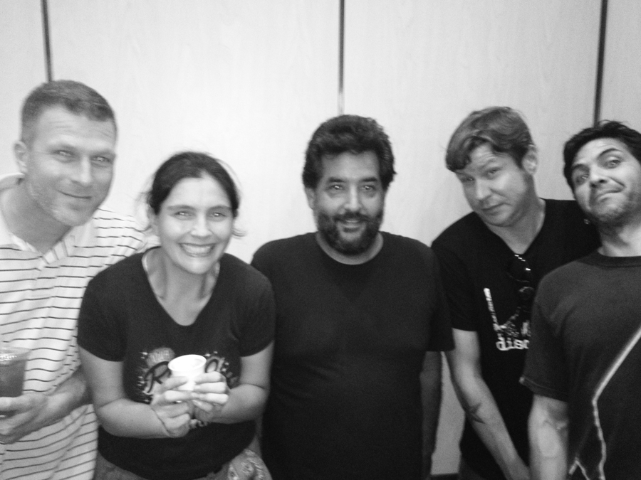 Travis, Amy, Joaquin, Mark, and Julio in an elevator - high on coffee - especially Amy, just look at her.