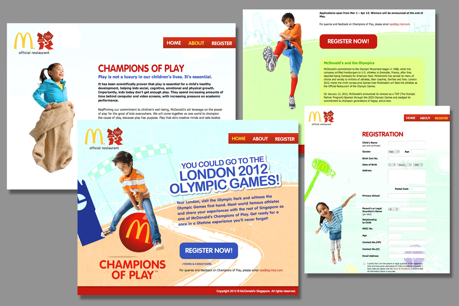 Champions of Play website applications.